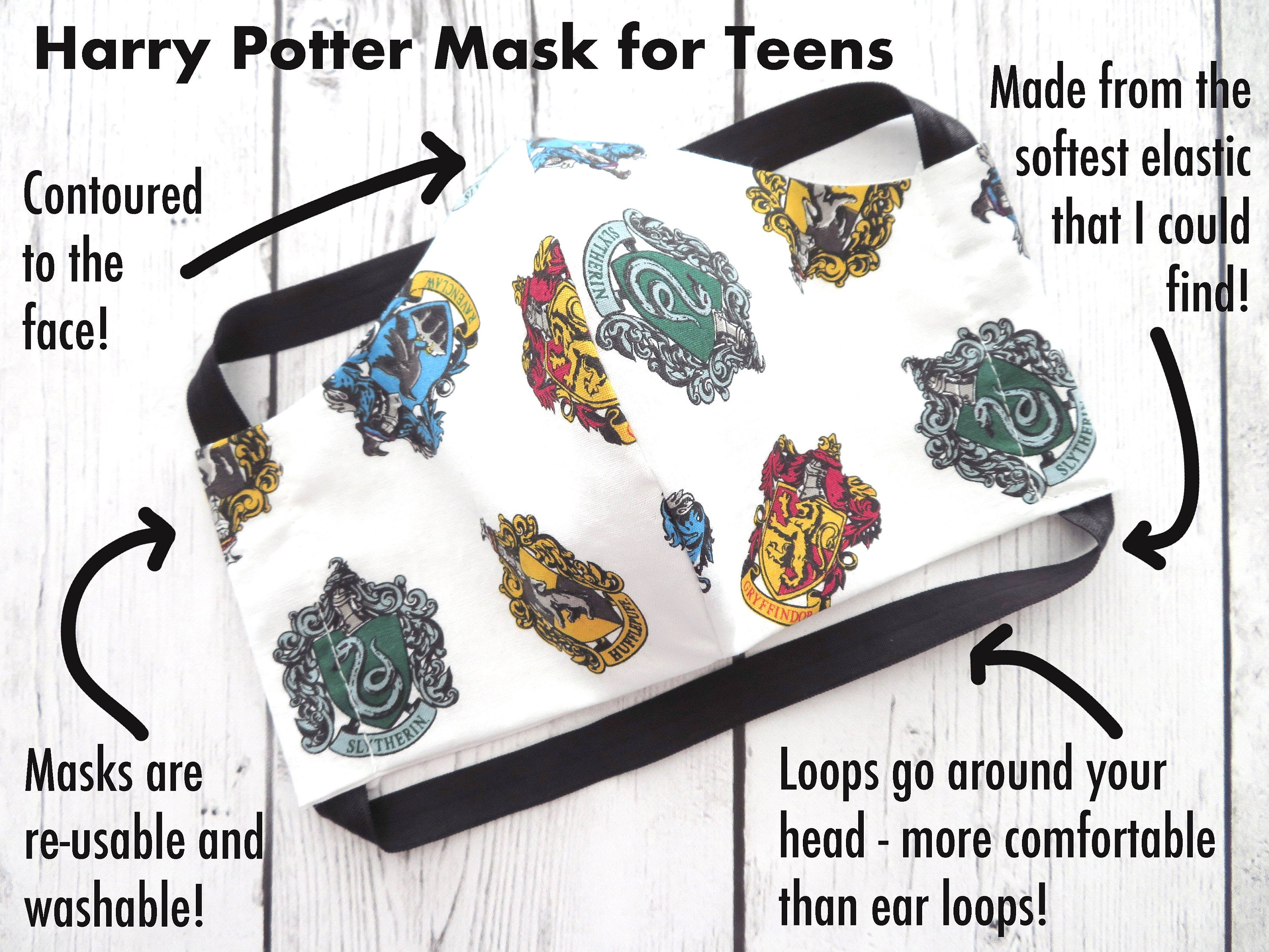 Harry Potter TEEN (Ages 9-15) Face Mask - handmade cotton, washable & re-usable, comfortable head elastic, teenager face mask, gryffindor