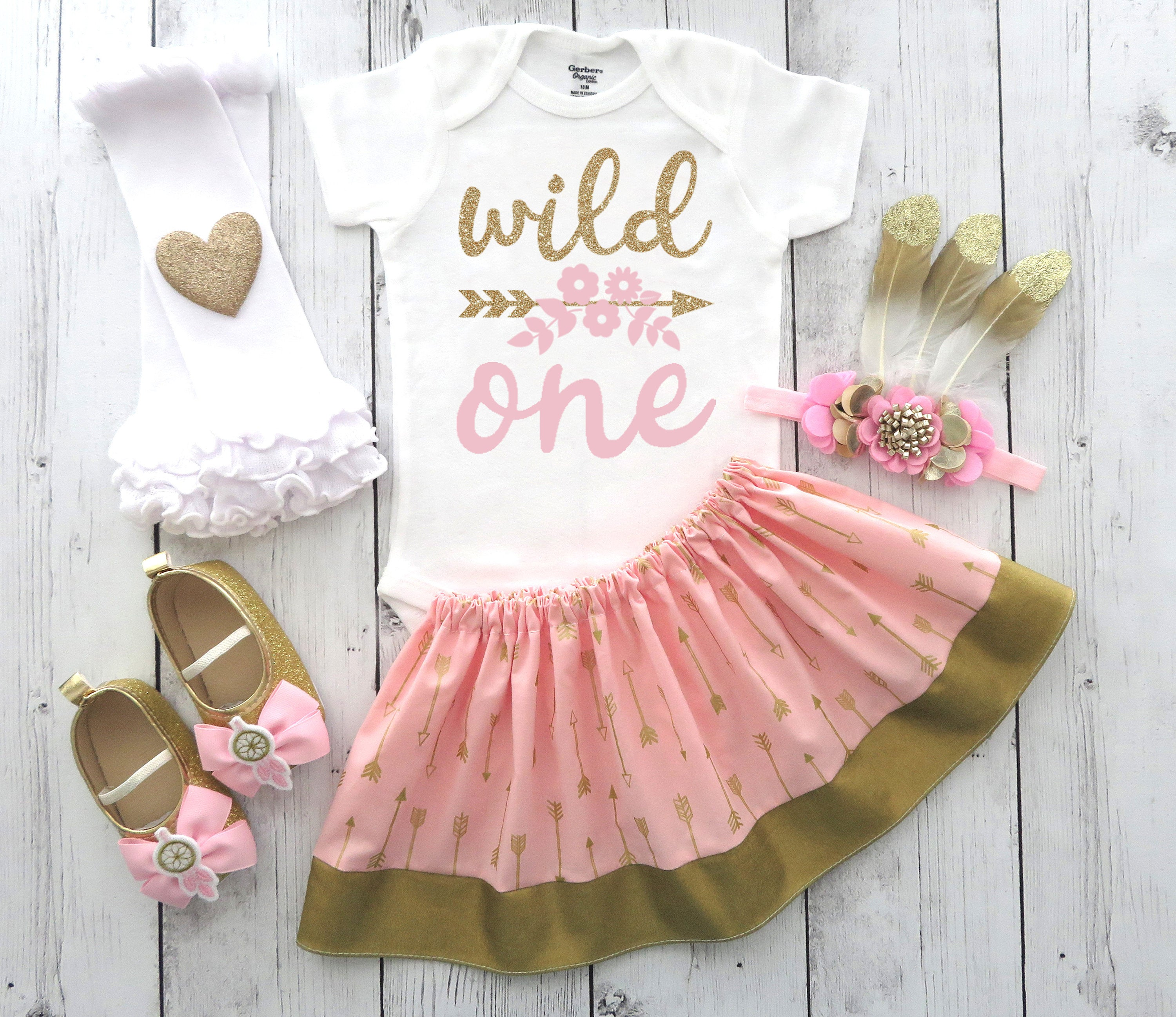 Wild One Birthday Outfit in pink and gold arrow print - wild one birthday girl,feather headband, boho first bday, tribal bday outfit