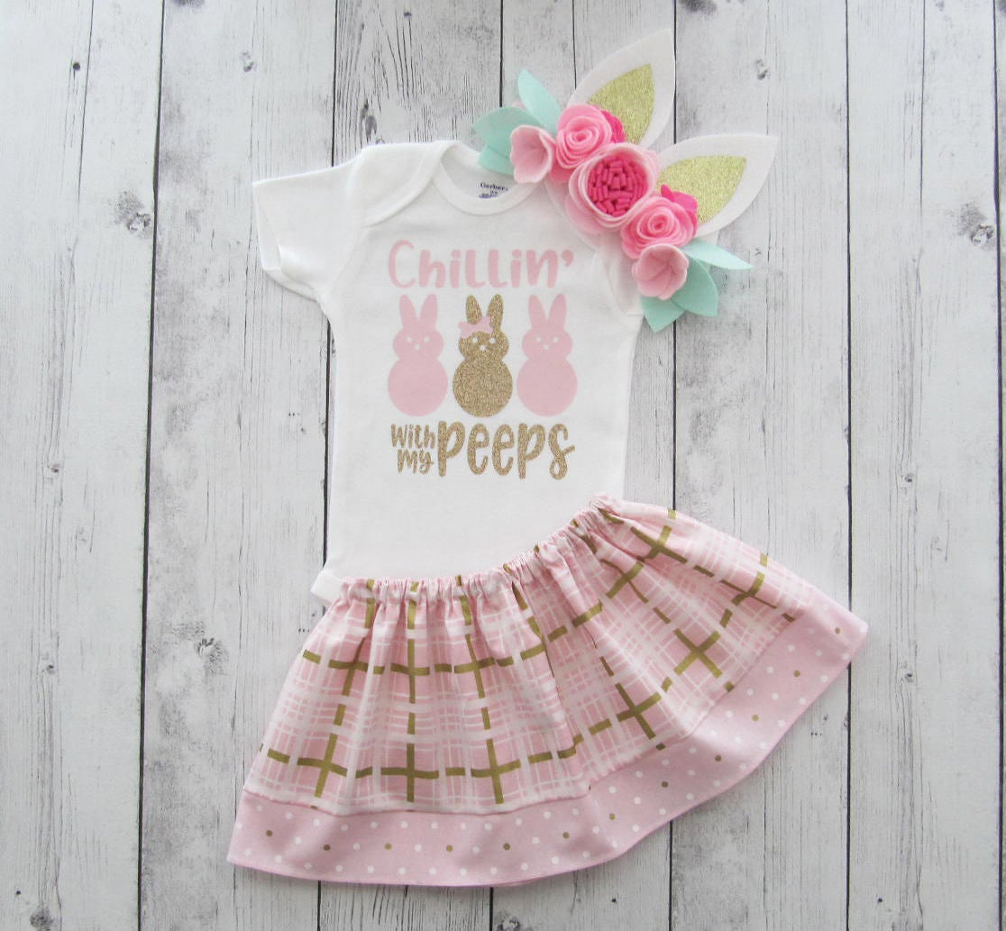 Chillin with my Peeps Easter Dress for Baby Girl - light pink and gold glitter, first easter outfit, girl first easter dress, first easter