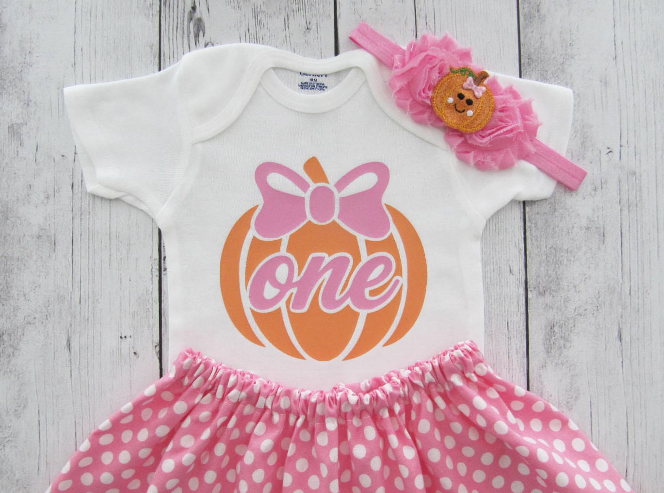 Pumpkin First Birthday Outfit for Girl in pink and orange - our little pumpkin is one, fall birthday, 1st birthday dress