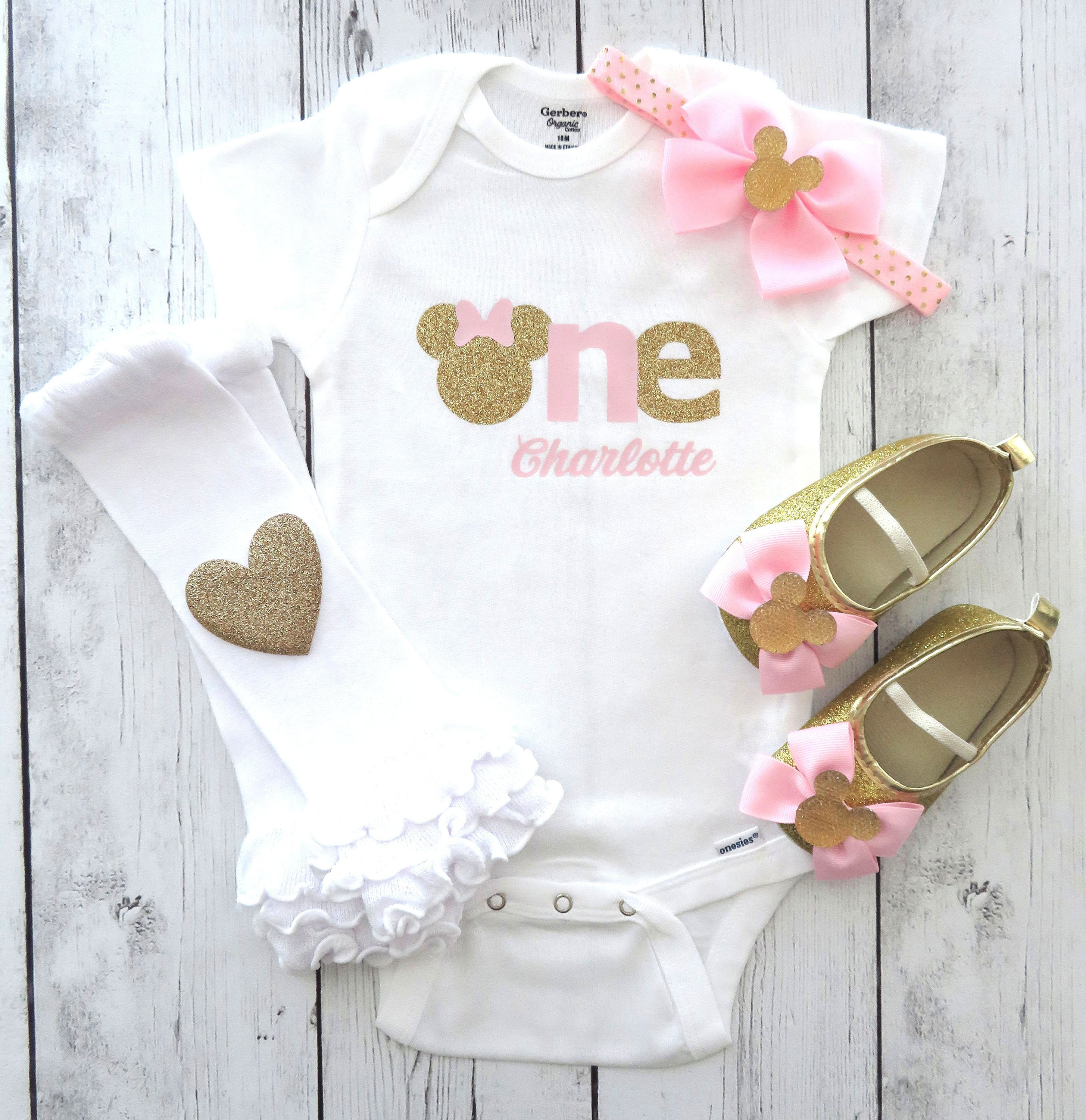 Minnie Mouse First Birthday Onesie in pink and gold- girl birthday, personalized, pink gold, minnie shoes, minnie 1st birthday outfit