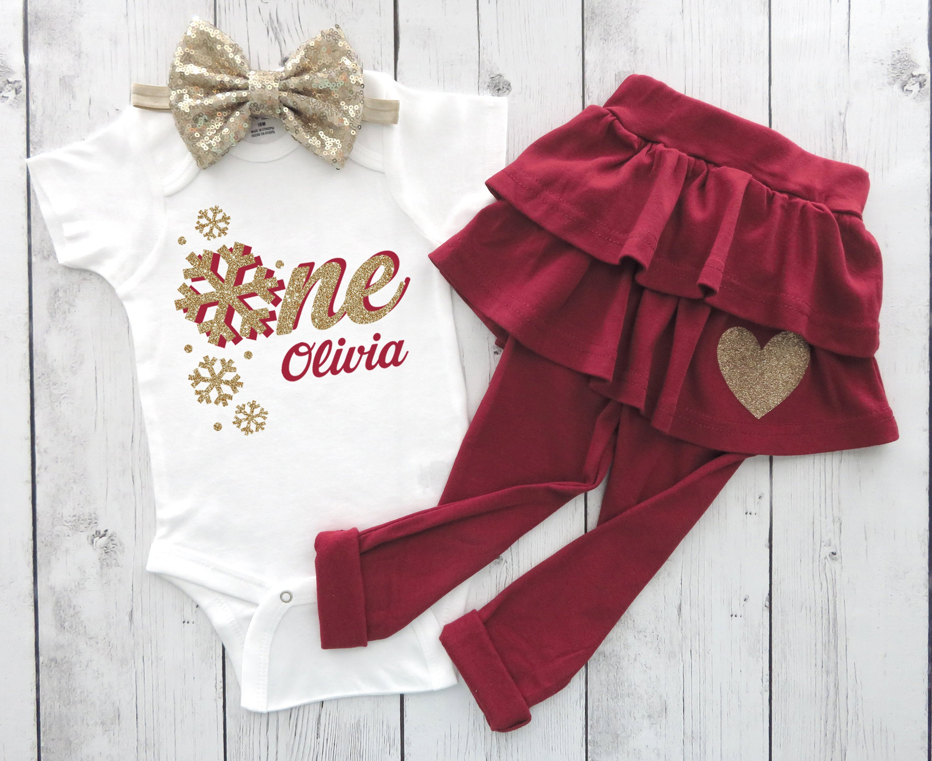 Snowflake First Birthday Outfit in Wine and Gold - winter ONEderland, winter birthday, girl 1st birthday outfit, snowflake 1st bday girl