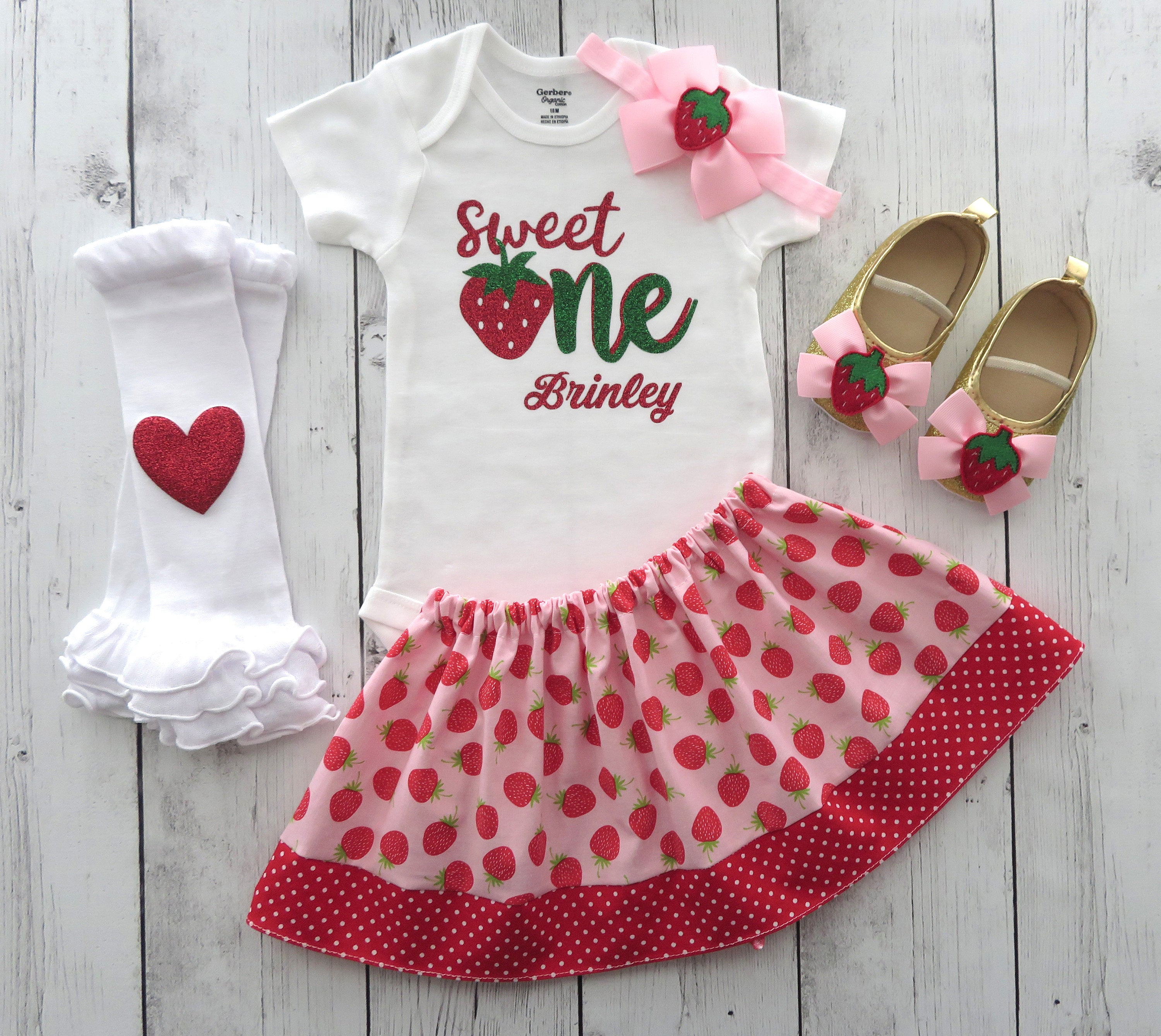 Strawberry First Birthday Outfit in pink and red with strawberry shoes - summer birthday, sweet one birthday girl,  strawberry 1st birthday