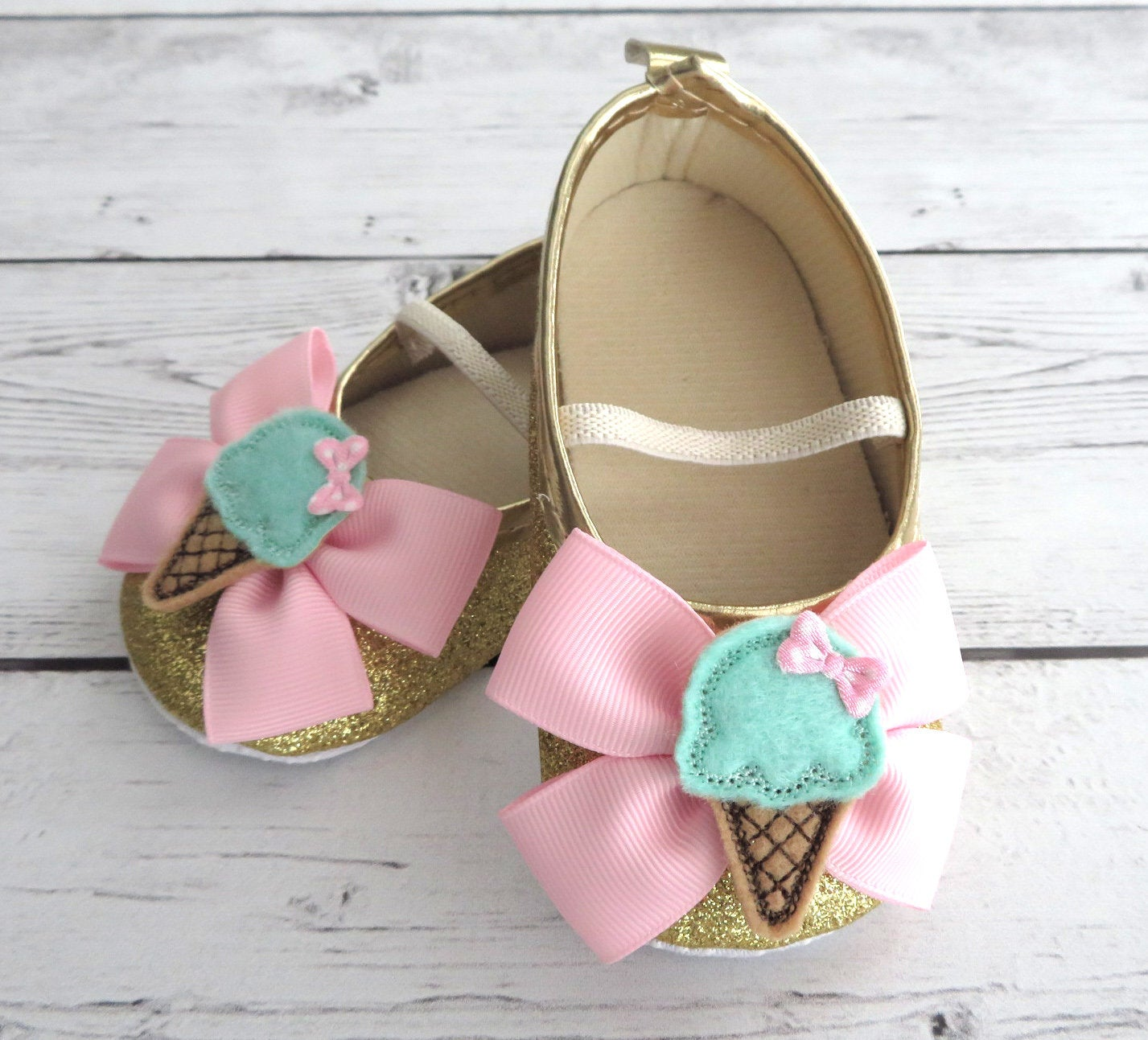 Ice Cream First Birthday Shoes & Headband for Girl in light pink, mint and gold-  sweet one birthday girl, pink mint and gold