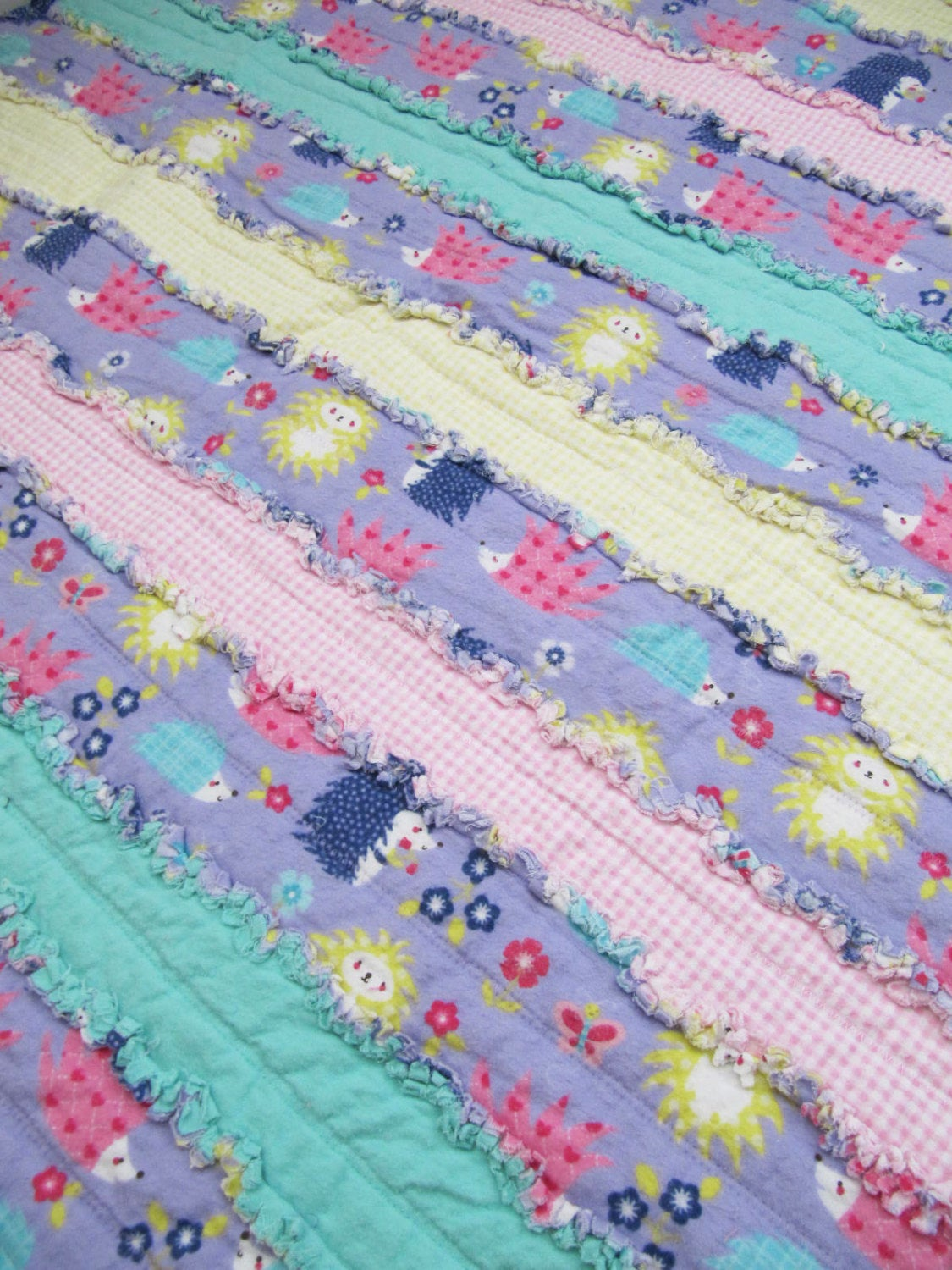 Purple Porcupine Baby Girl Rag Quilt - lavender, pink yellow gingham, mint green, jelly roll rag quilt