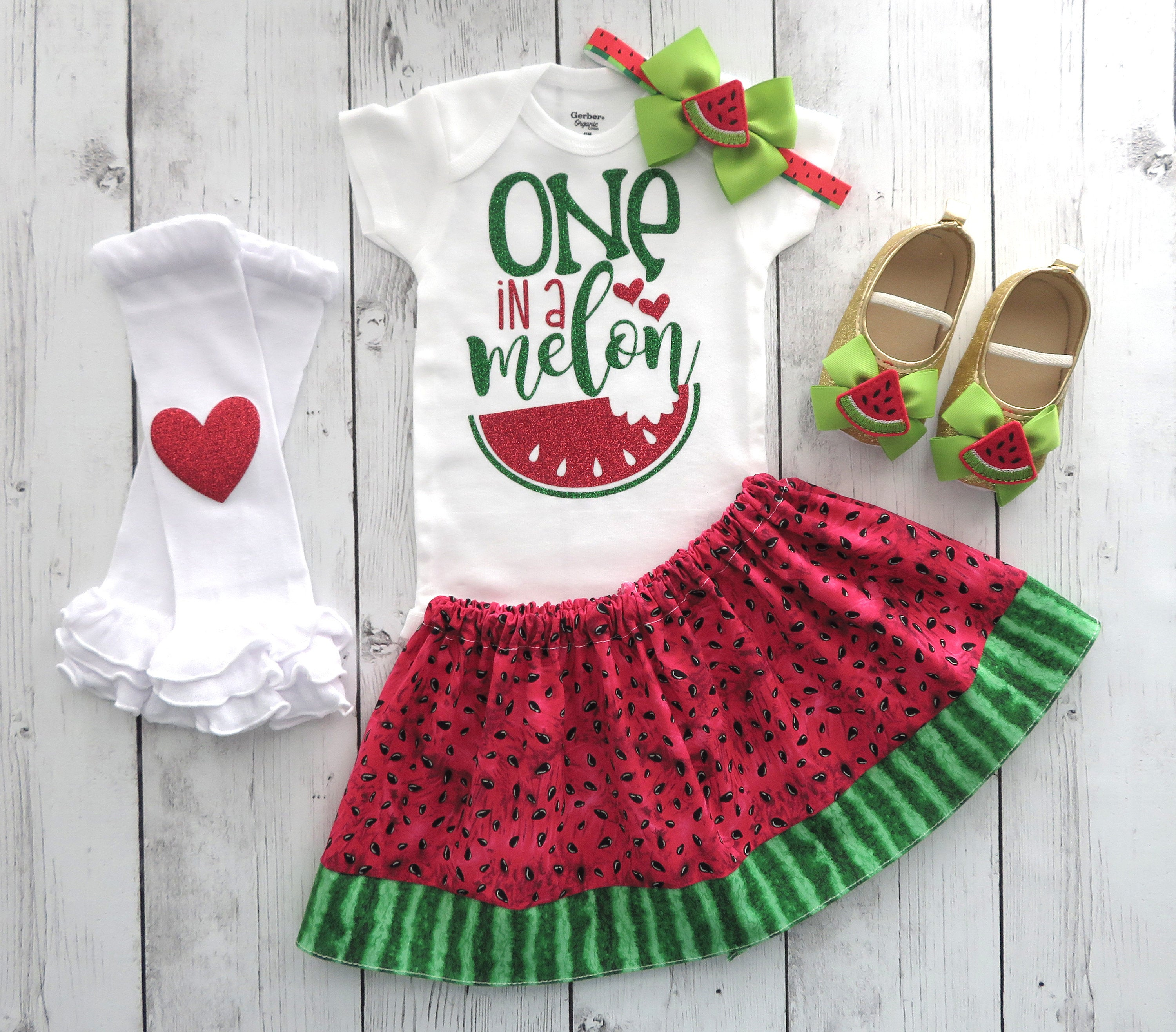 Watermelon First Birthday Outfit in red and green - one in a melon, birthday outfit girl, watermlon first birthday outfit, watermelon shoes