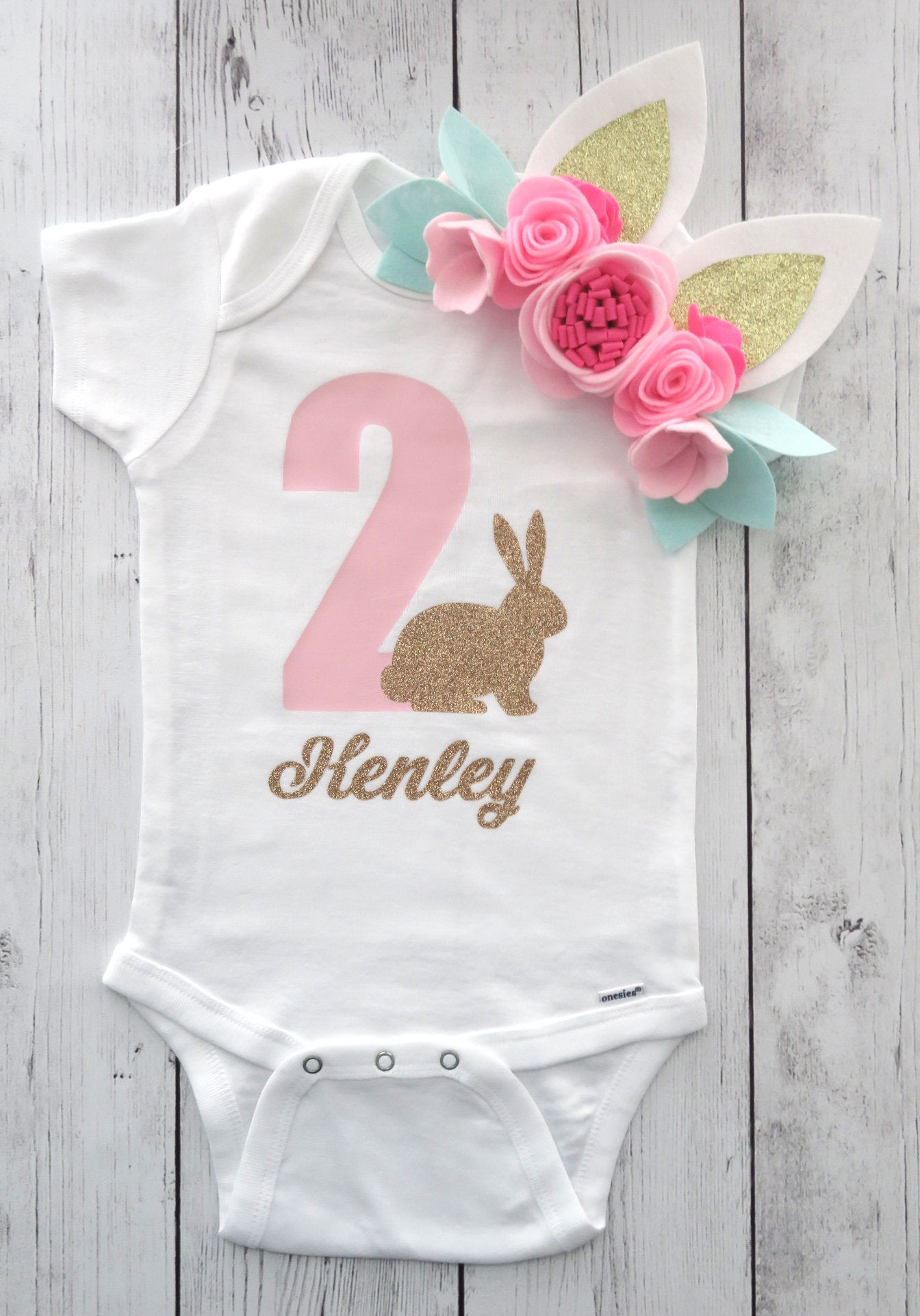 Bunny Second Birthday Onesie - light pink and gold glitter, pink gold for baby girl, some bunny is turning two, bunny birthday shirt