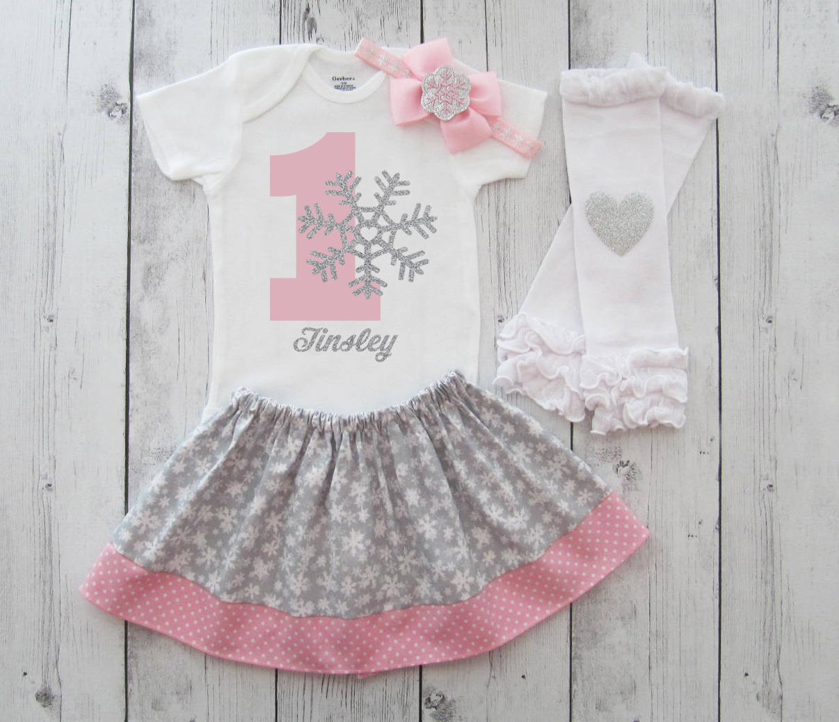 Snowflake First Birthday Outfit in pink and silver - baby girl first birthday dress, snowflake pink, snow much fun to be one girl