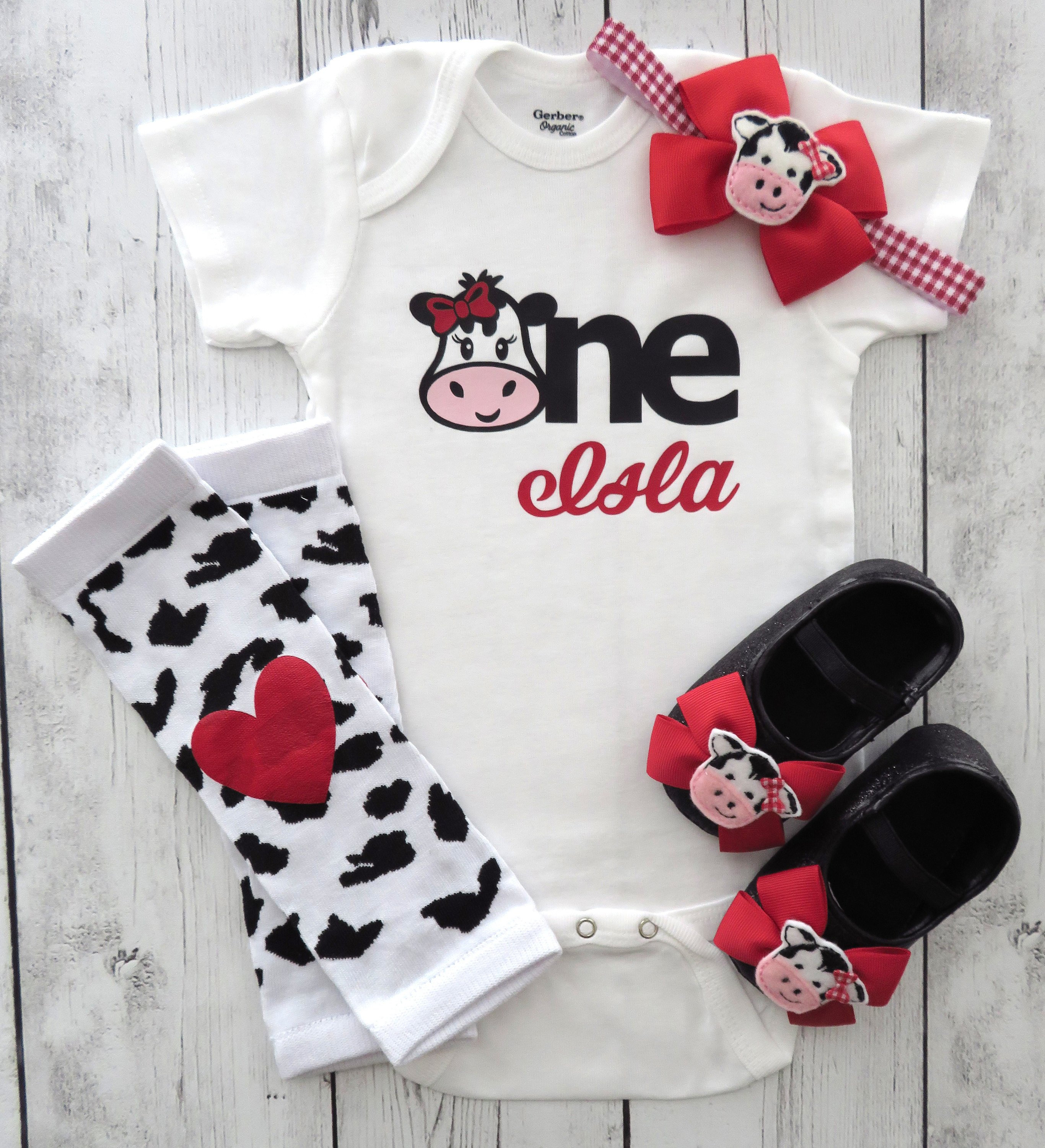 Cow One First Birthday Onesie in red for baby girl with matching cow shoes - barnyard first birthday shirt, farm animal birthday girl