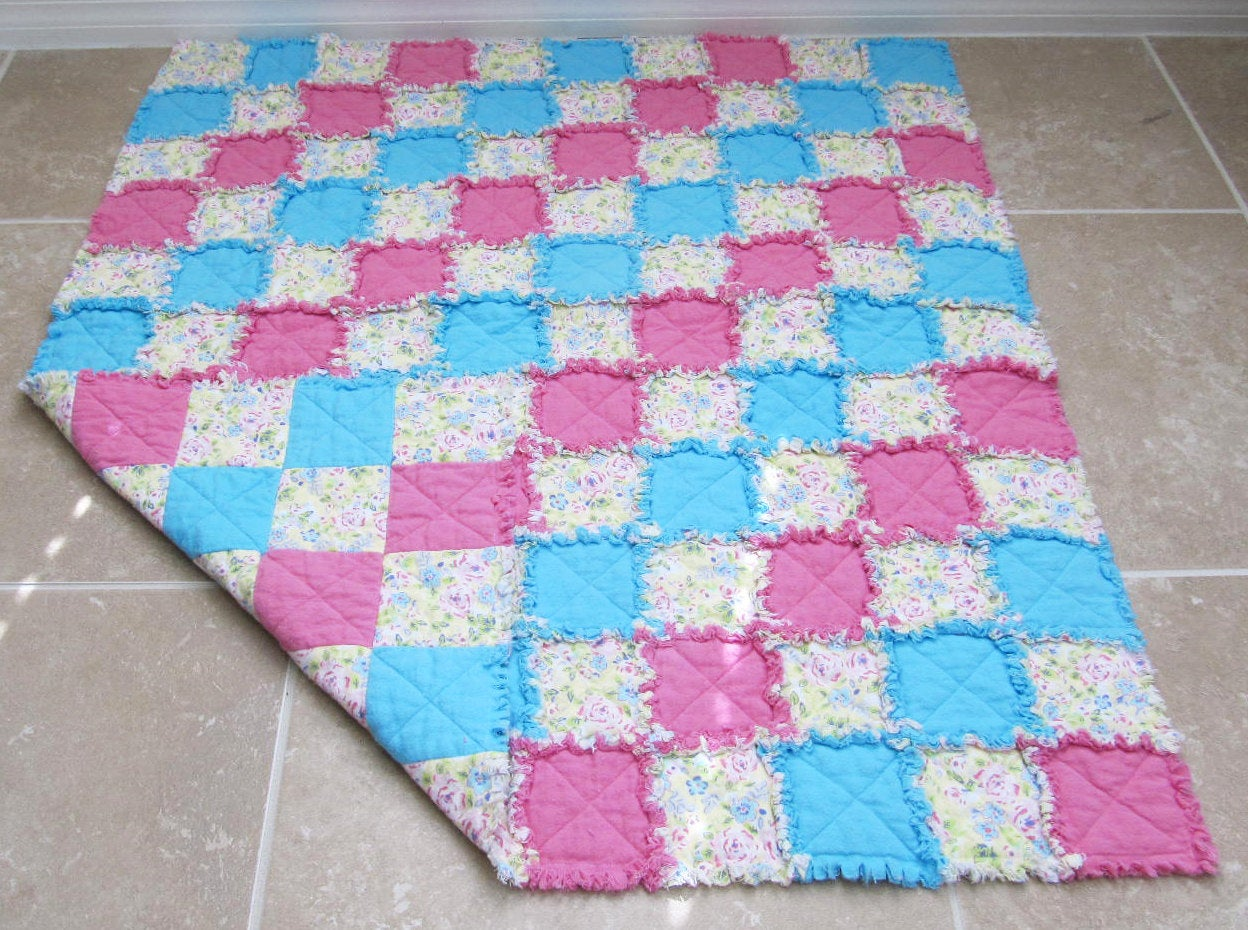 Traditional Floral Baby Blanket for Girl - shabby chic, pink, yellow, blue, baby girl rag quilt, crib/nursery quilt