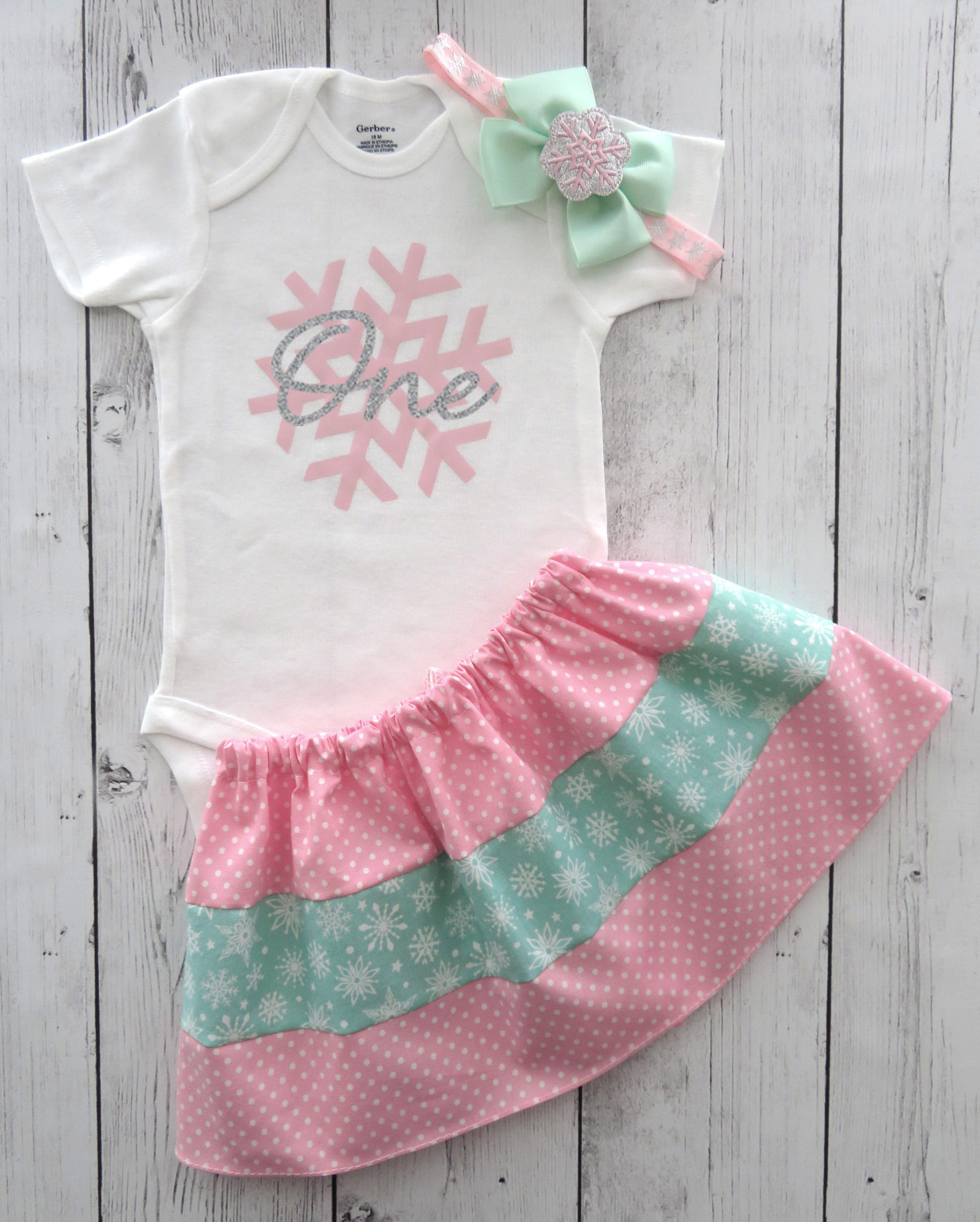 LAST ONE! - Snowflake First Birthday Outfit - winter onederland birthday outfit, pink and silver snowflake, snow much fun to be one