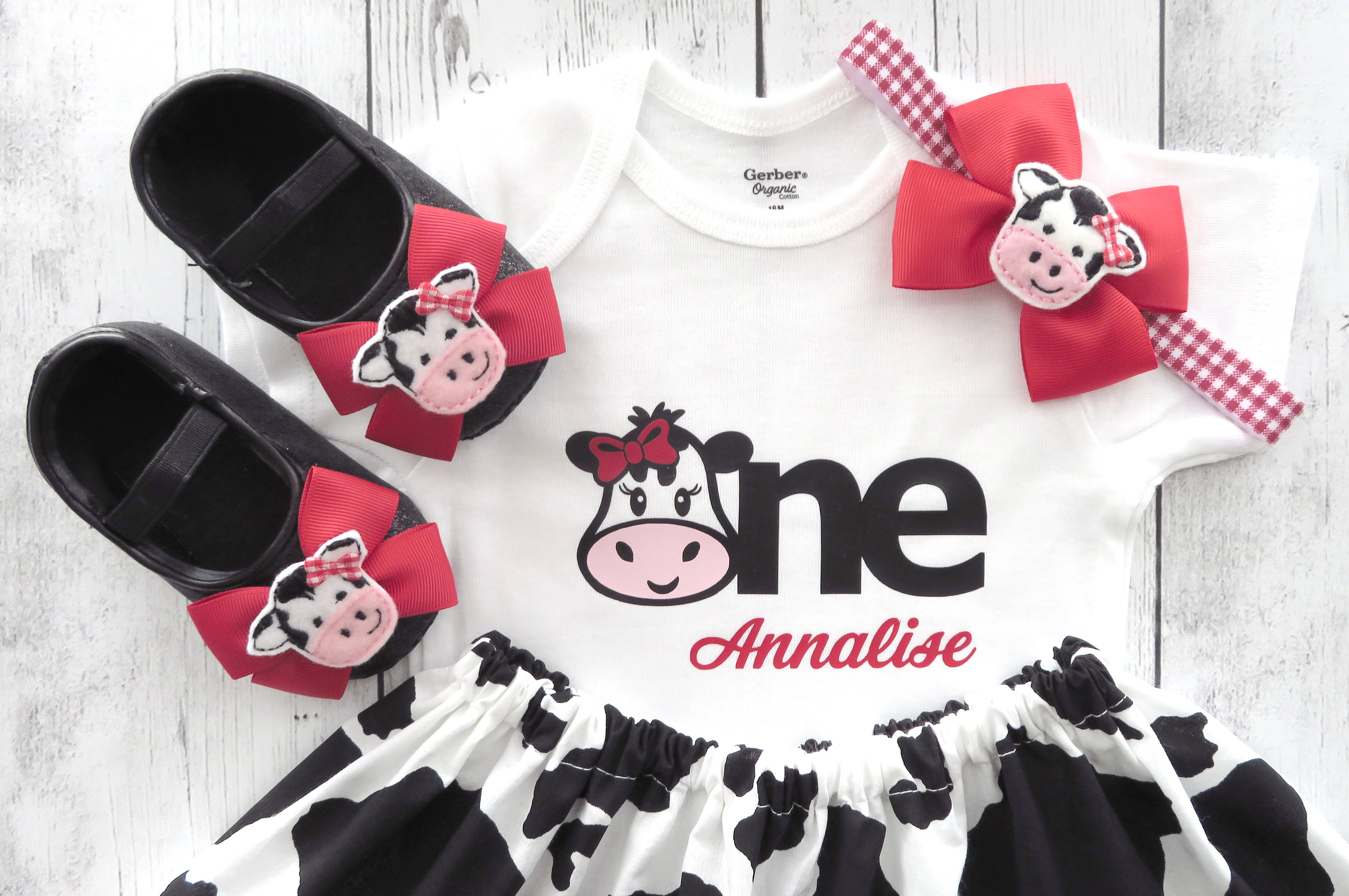 First Birthday Outfit in Cow print and Red Gingham with Cow Shoes - barnyard birthday outfit girl, farm animal girl, personalized outfit