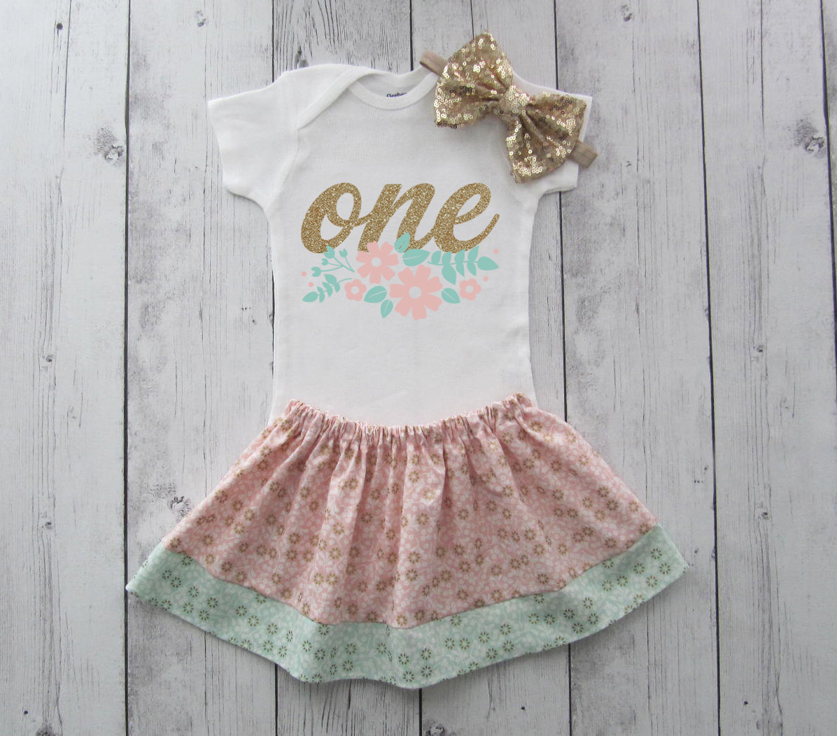 Floral First Birthday Outfit girl - floral birthday outfit, shabby chic birthday outfit, birthday outfit girl 1, pink mint gold outfit