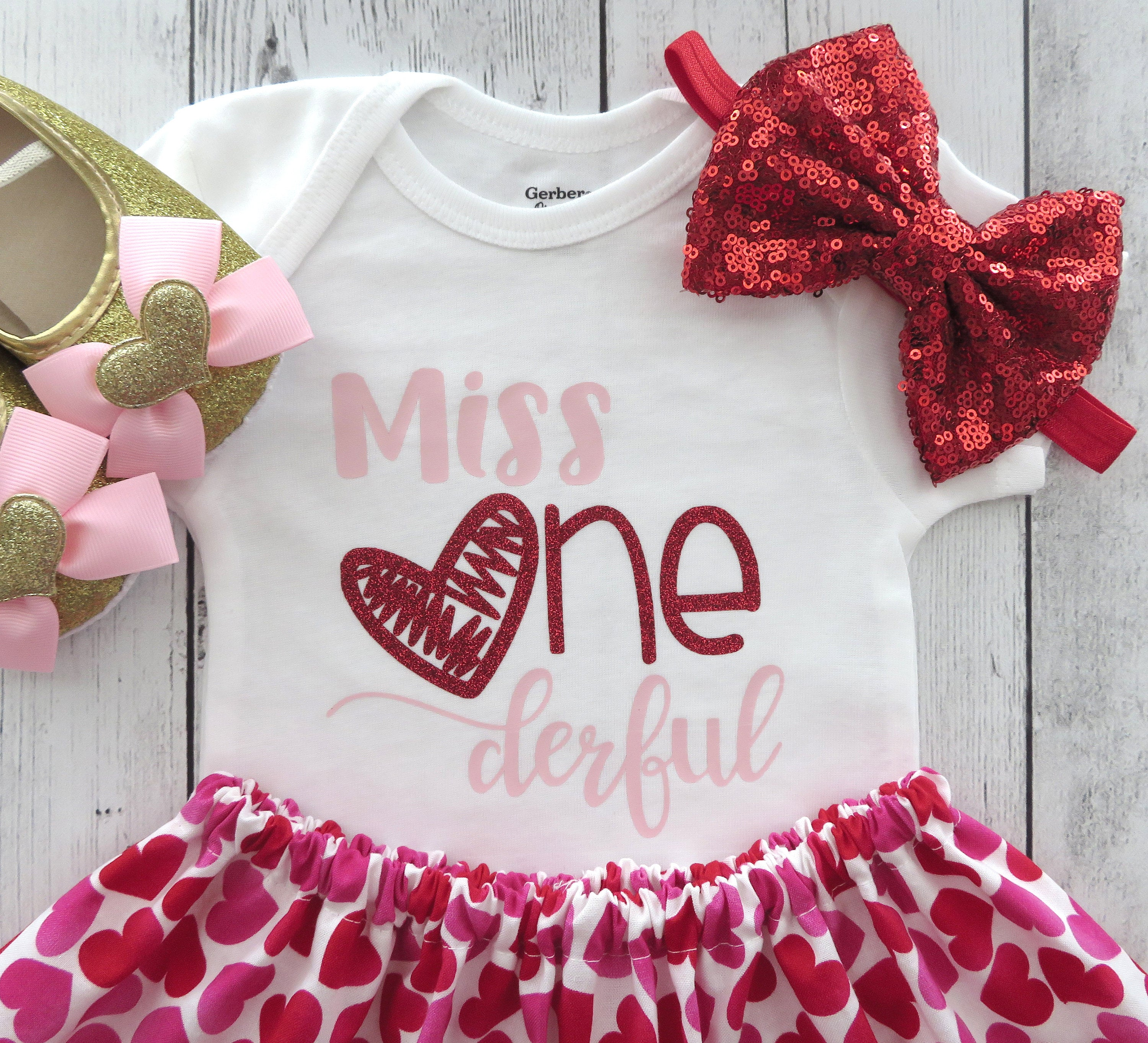 Valentine's Day First Birthday Outfit - girl birthday outfit, pink red, valentines birthday, miss onederful, valentines day birthday girl