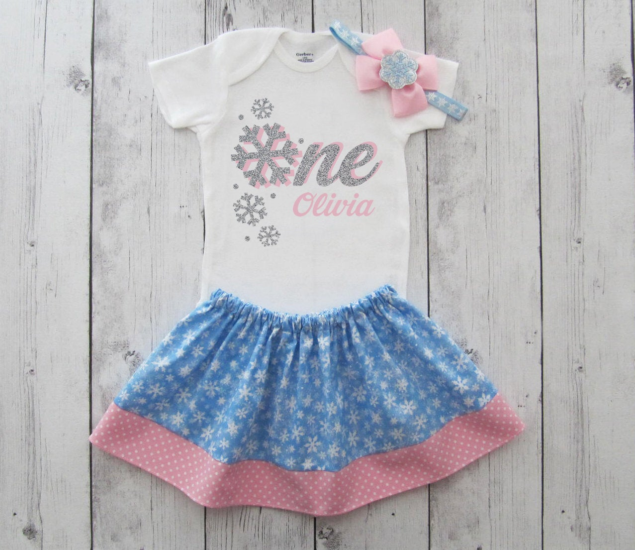 Winter ONEderland First Birthday Outfit in silver, pink and blue snowfakes - girl first birthday outfit, snow much fun to be one