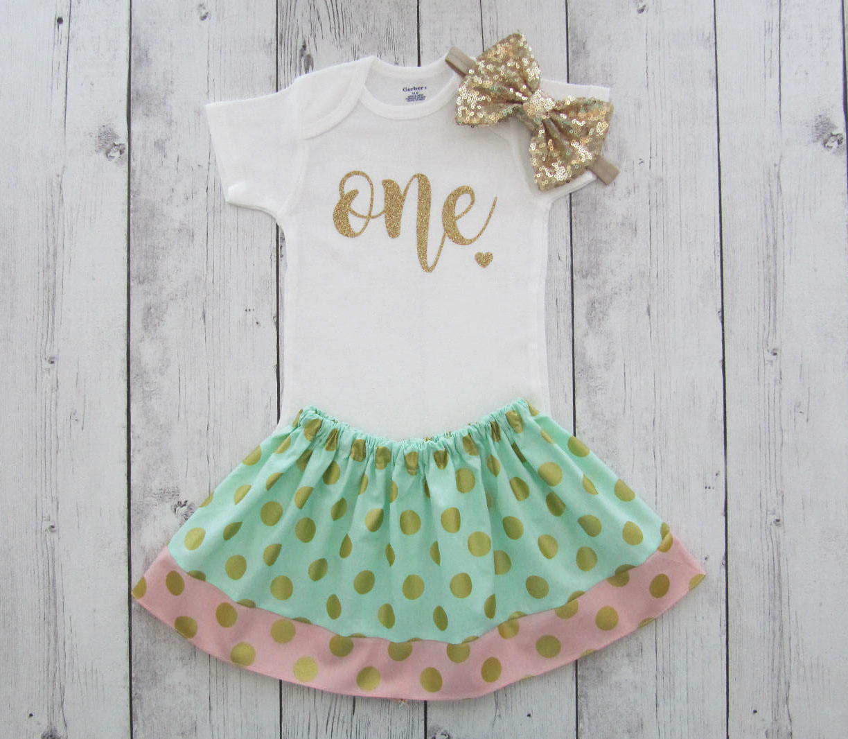 First Birthday Outfit in mint pink and gold polka dot skirt - themeless birthday outfit, one year old, simple first birthday outfit girl