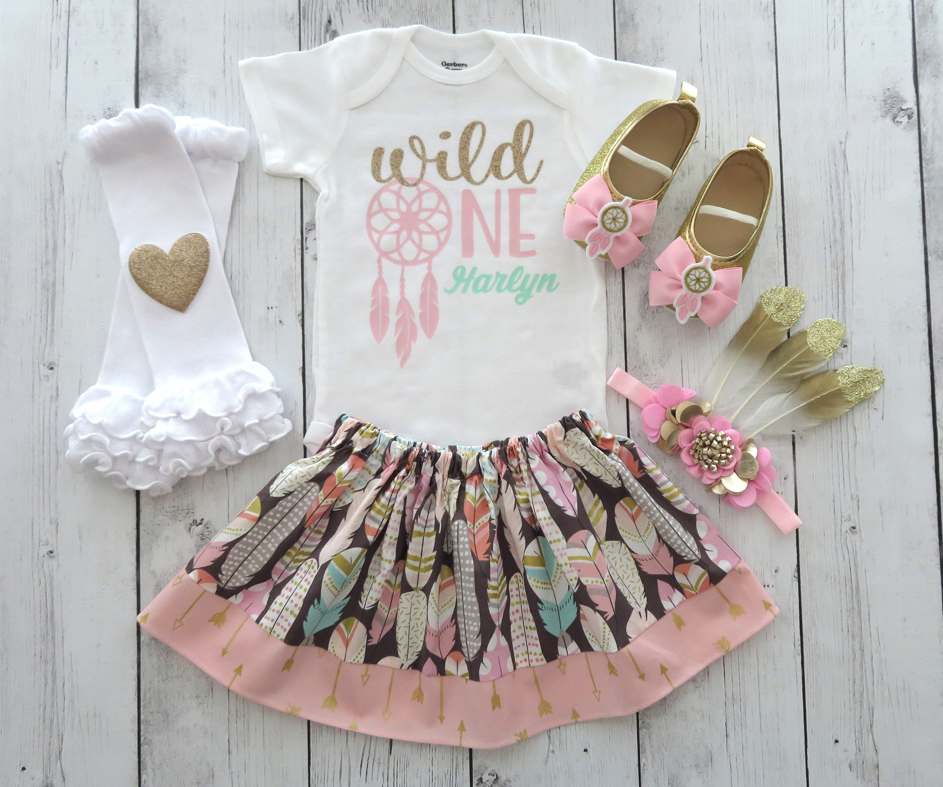 Wild One First Birthday Outfit with dreamcatcher and feather skirt - pink and gold, wild one birthday girl, wild one shirt, feather headband