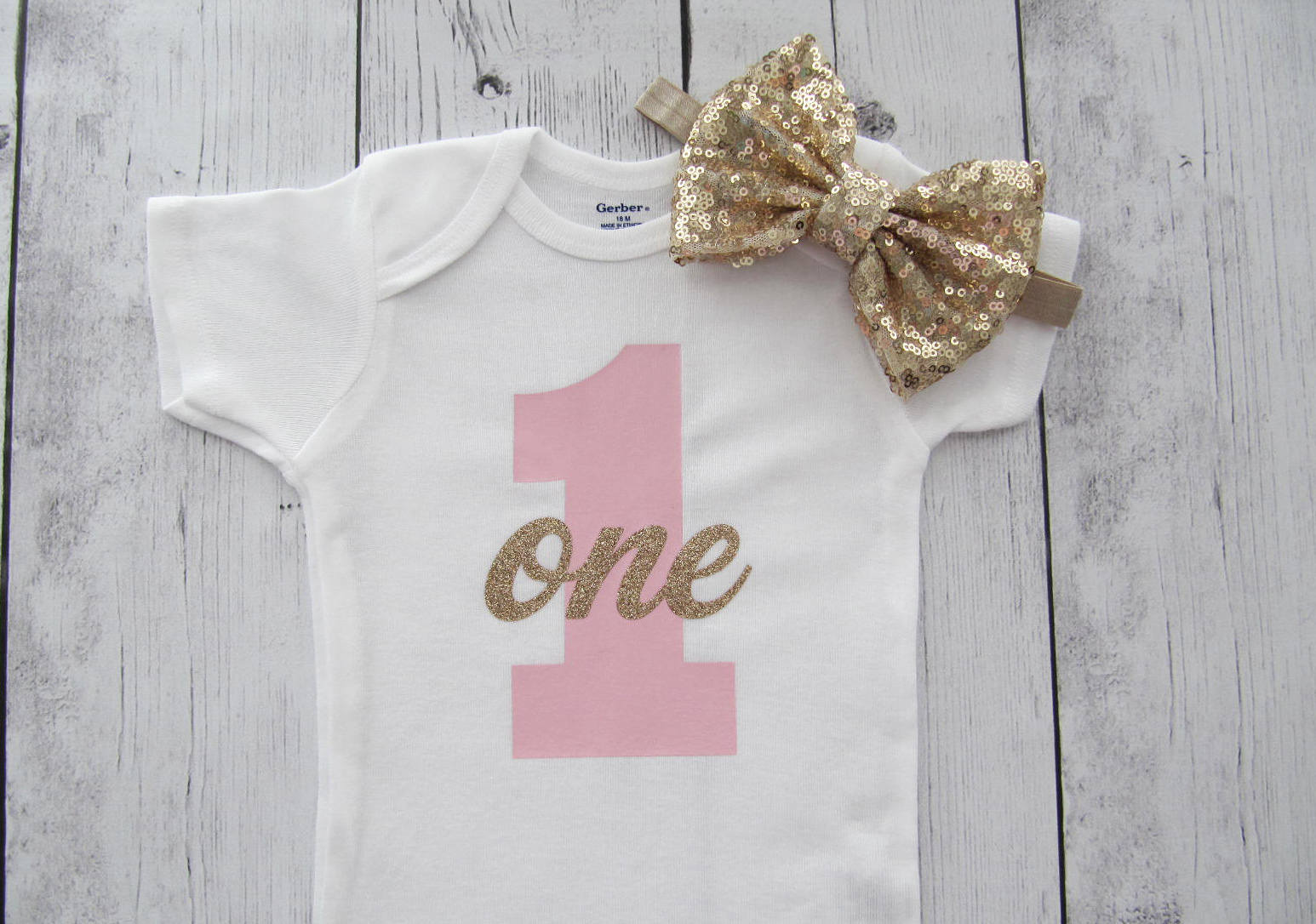 Pink and Gold First Birthday Onesie - #1, first birthday, number 1, gold glitter one, light pink gold, pink gold, one , gold bow