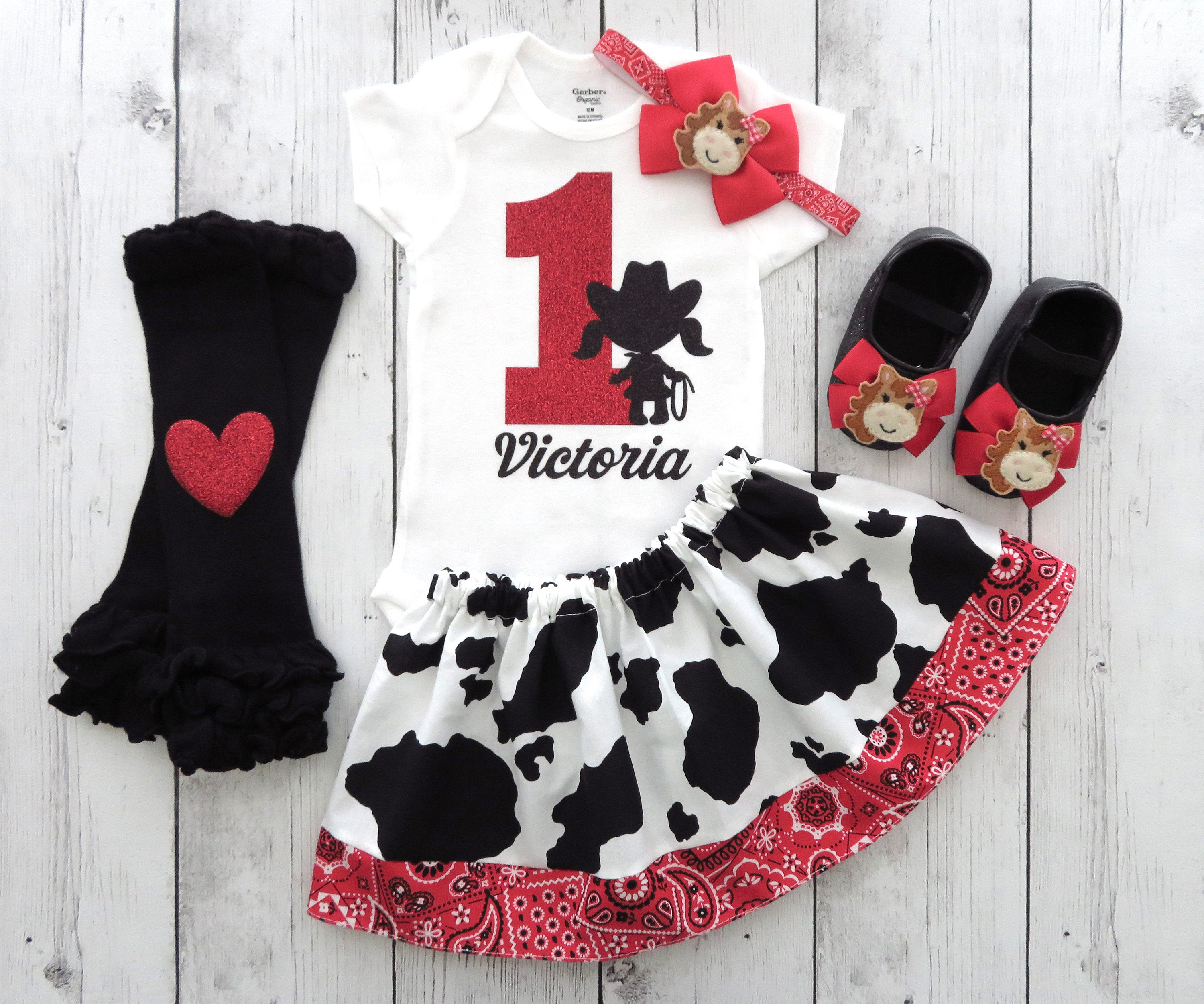 Cowgirl First Birthday Outfit in Cow print and Red Bandana - red bow, girl birthday outfit, cowgirl, rodeo birthday