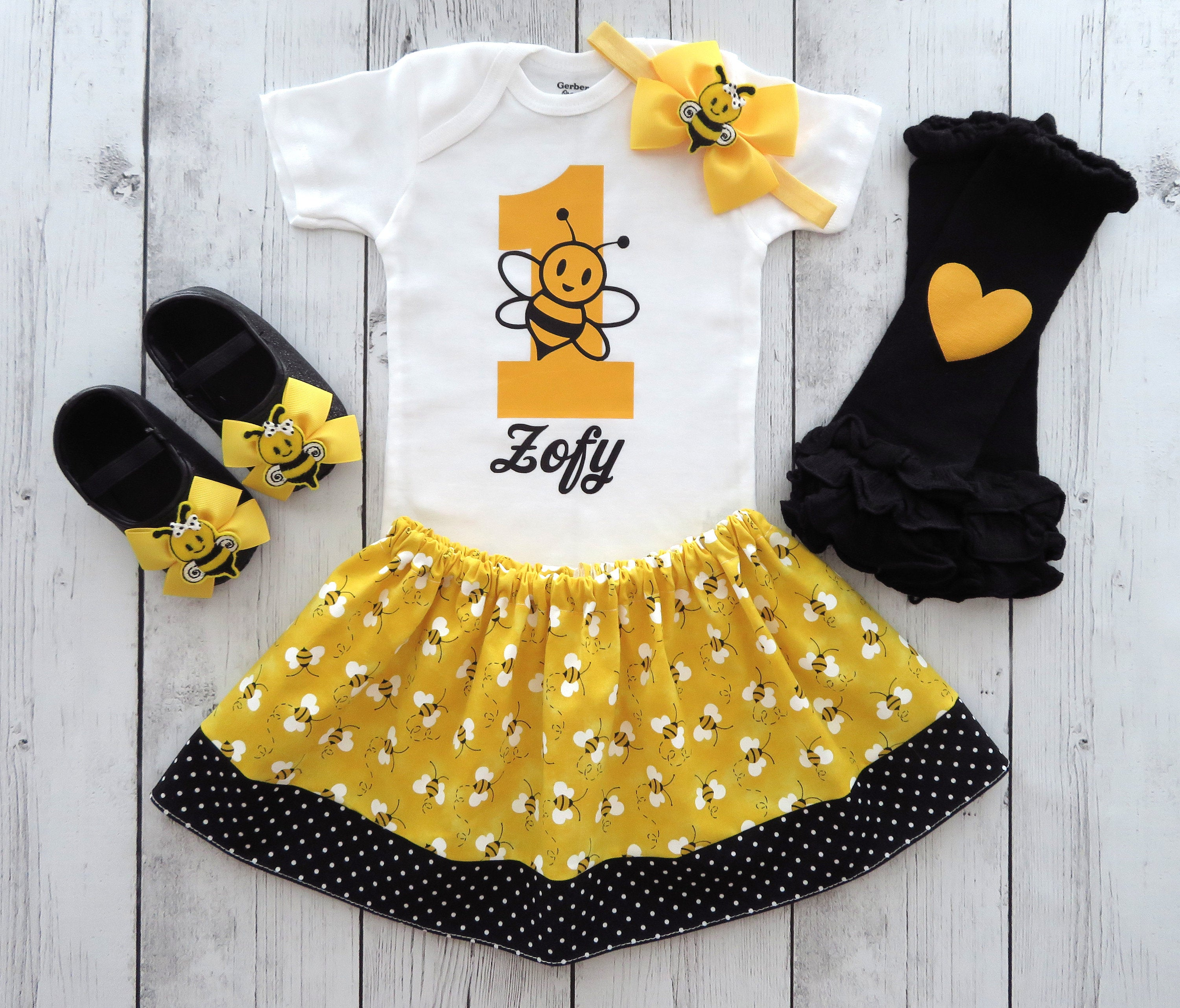 Bumble Bee First Birthday Outfit for baby girl - yellow black, bumble bee girl birthday outfit, bumble bee skirt, 1st bday outfit girl bee