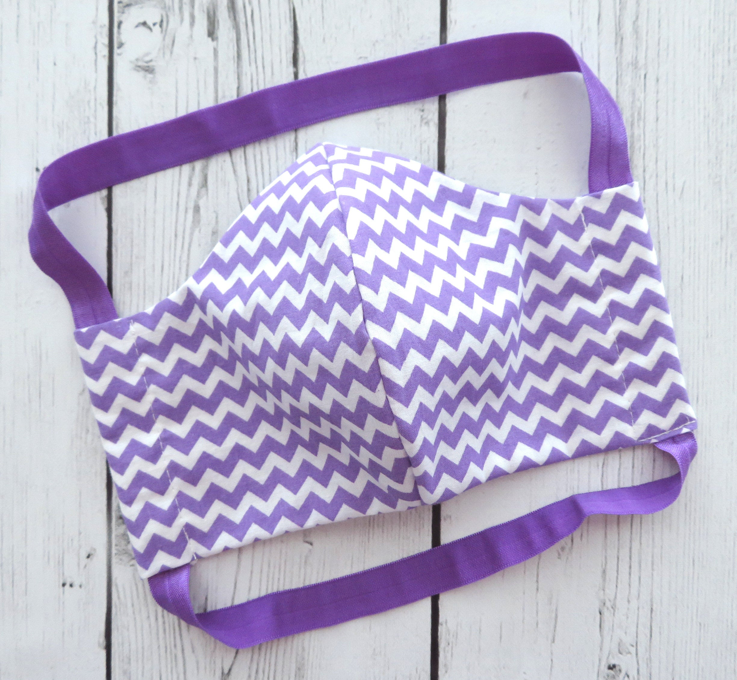 Purple Chevron Face Mask - comfortable face mask that won't irritate the ears, handmade cotton face mask for adult, washable and re-usable