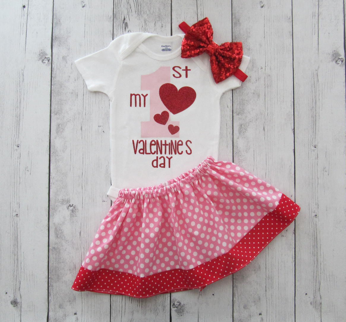 My First Valentine's Day - red pink, hearts, baby girl valentines day, my first valentines day, pink red dot skirt, first valentines girl