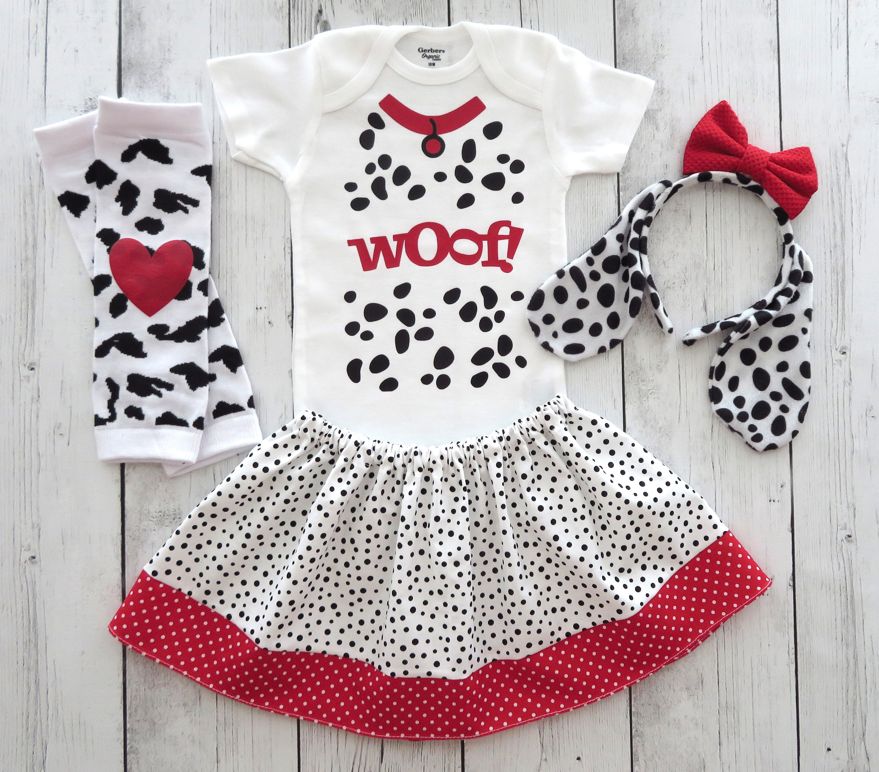 Dalmatian Puppy Halloween Costume in Sizes Baby to Toddler -baby girl halloween costume, puppy costume, dog ears, dog halloween costume girl