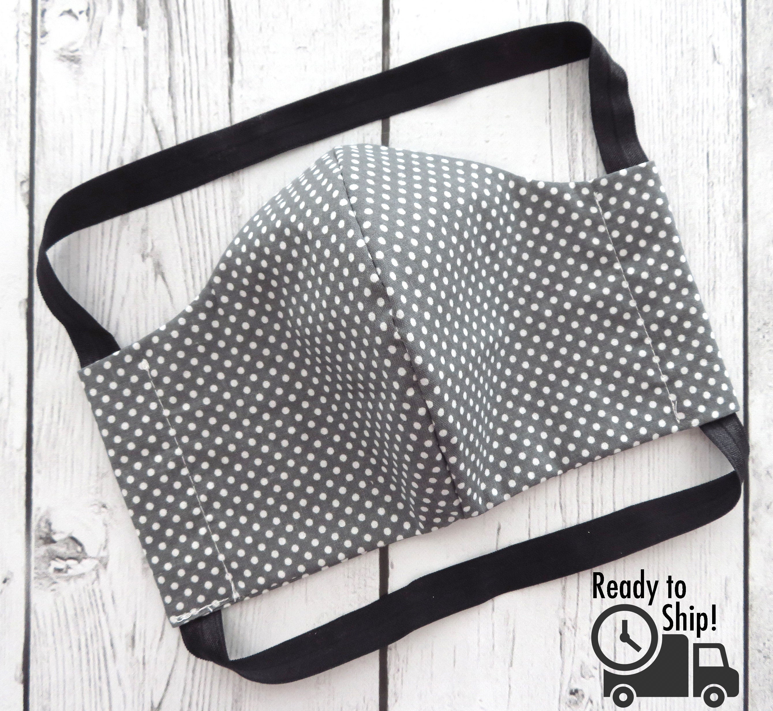 Men's Face Mask in Grey Dots  - READY TO SHIP!  handmade in usa, cotton face mask for adult, washable and re-usable cotton, ear saver design