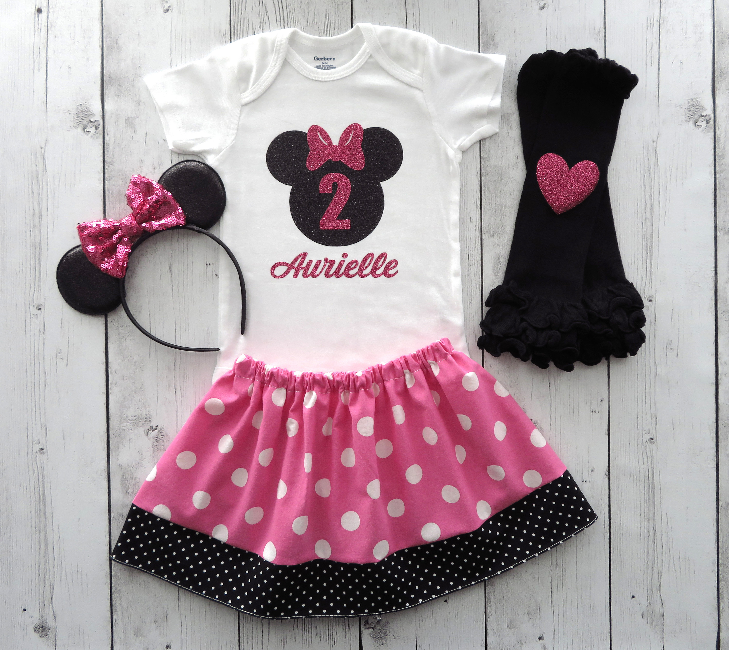 Minnie Mouse Second Birthday Outfit in pink polka dots with Minnie Ears - girl 2nd birthday, minnie mouse birthday party,
