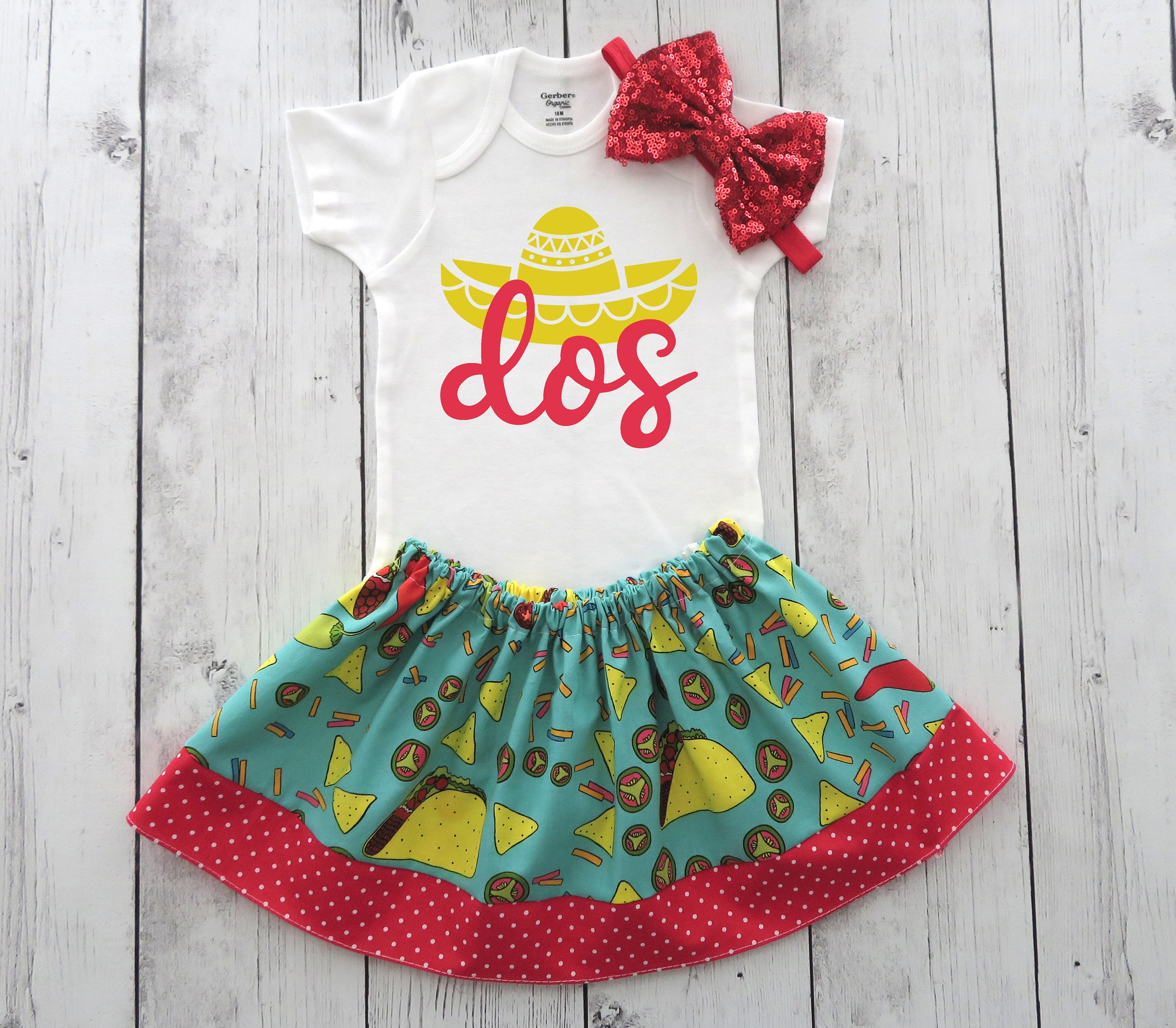 Taco Twosday Birthday Outfit for baby girl - taco second birthday outfit girl, fiesta bday party, taco two-sday, dos, 2nd birthday