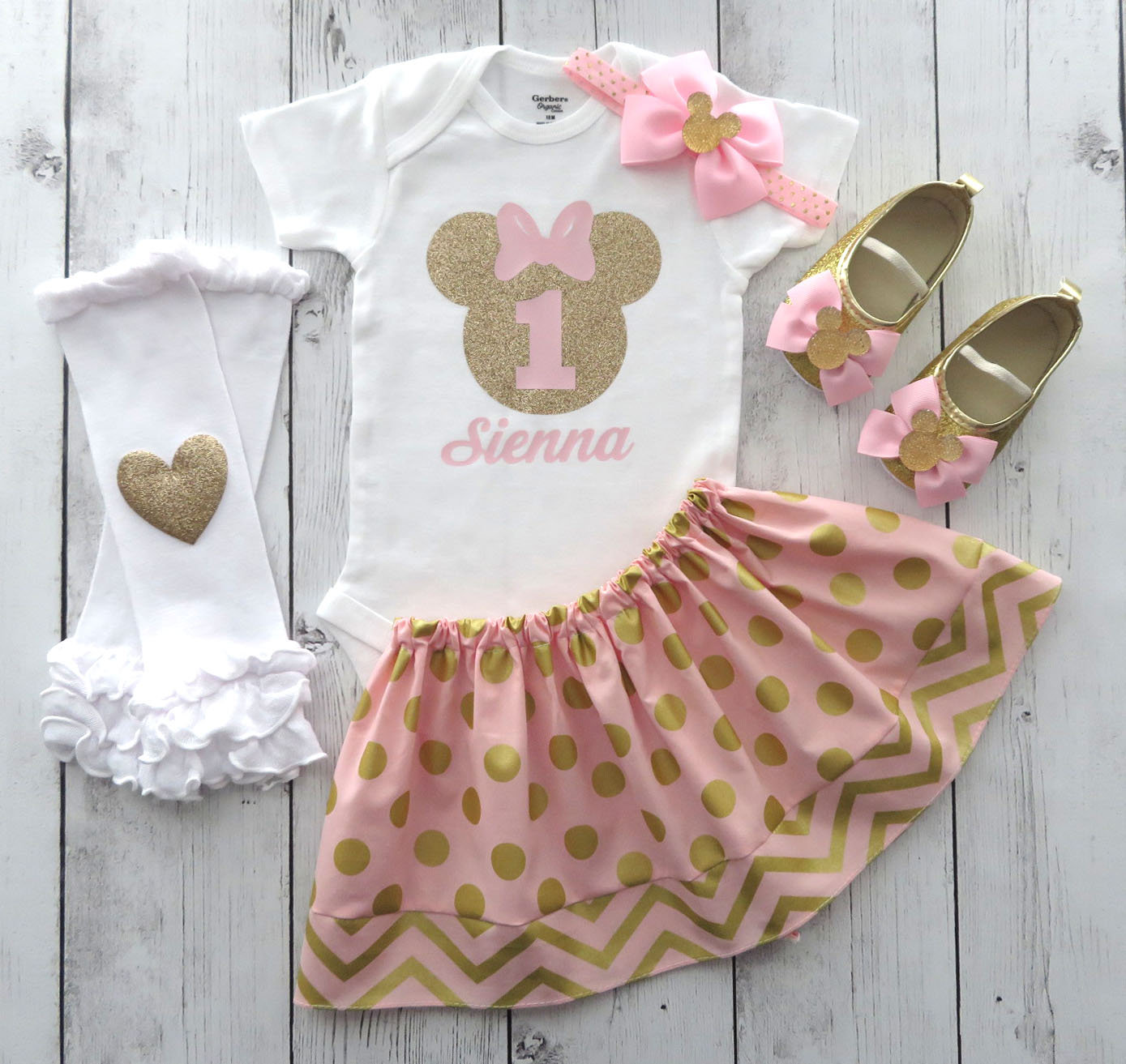 Pink and Gold Minnie Mouse First Birthday Outfit for Girl with matching minnie shoes - personalized birthday outfit, minnie bday pink gold