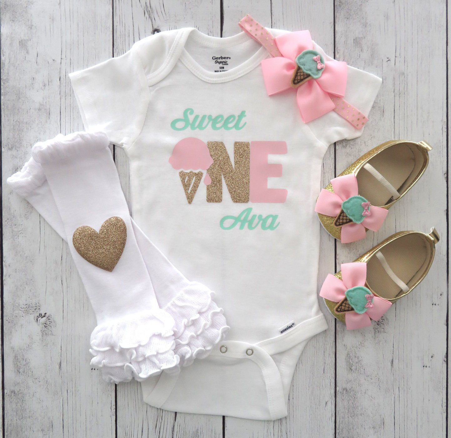 Sweet One First Birthday Onesie - pink gold mint, ice cream birthday, sweet one birthday outfit, ice cream shoes, 1st bday outfit