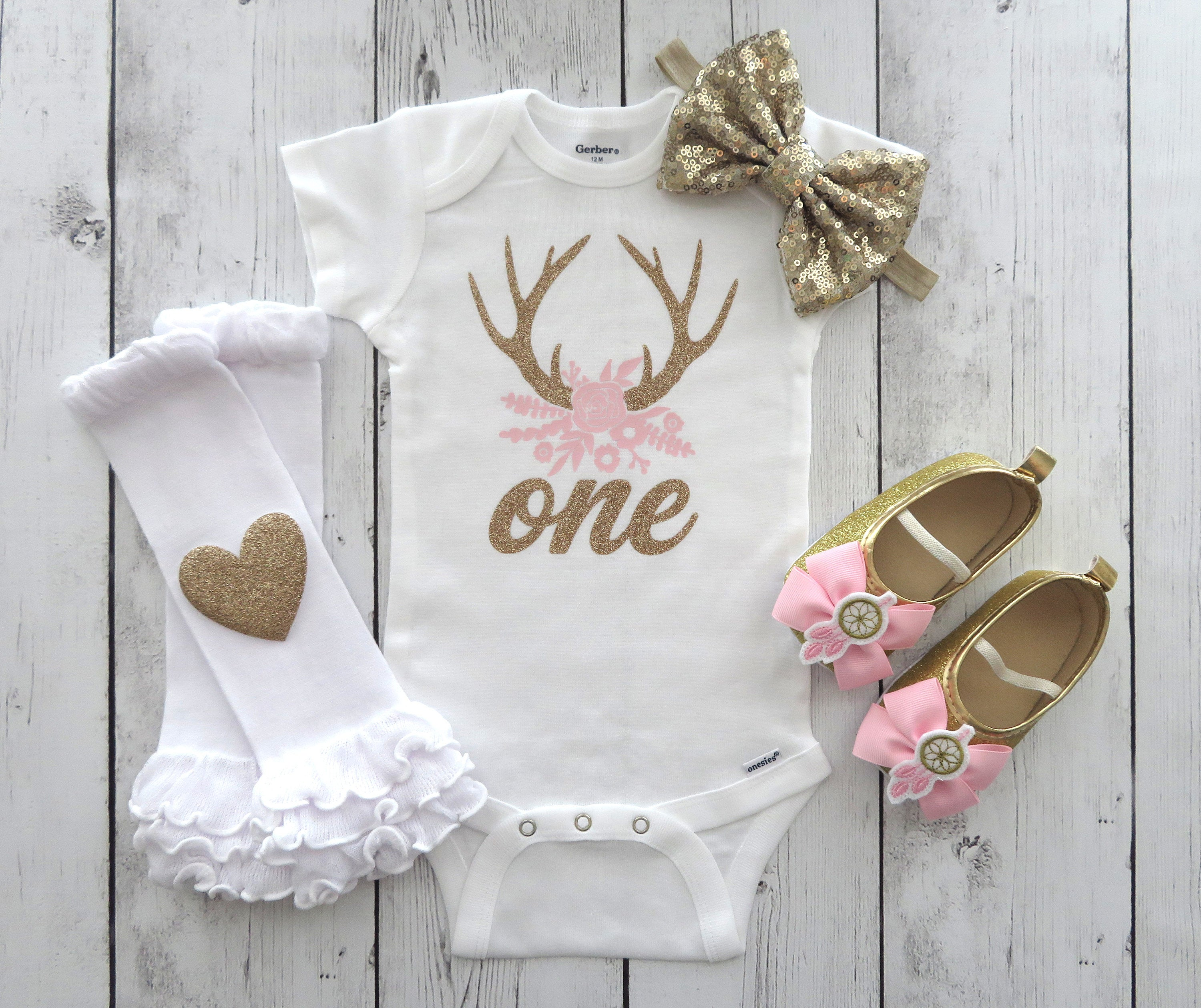 Deer Antlers First Birthday Onesie for baby girl - oh deer birthday, pink gold, antlers and flowers, girl deer birthday, woodland deer