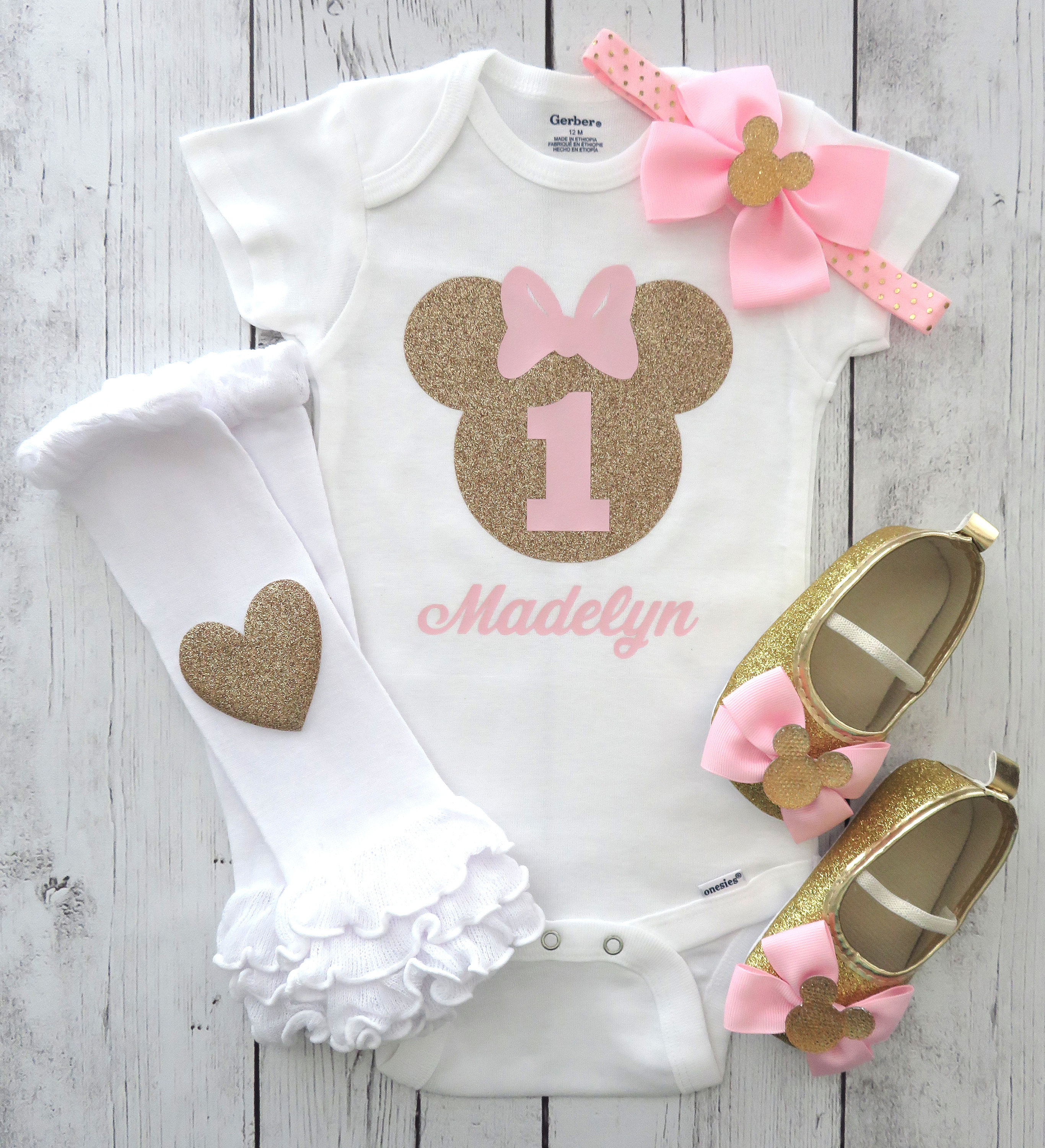 Minnie Mouse First Birthday Onesie in pink and gold with headband - girl birthday, glitter, personalized, pink gold, minnie one shirt