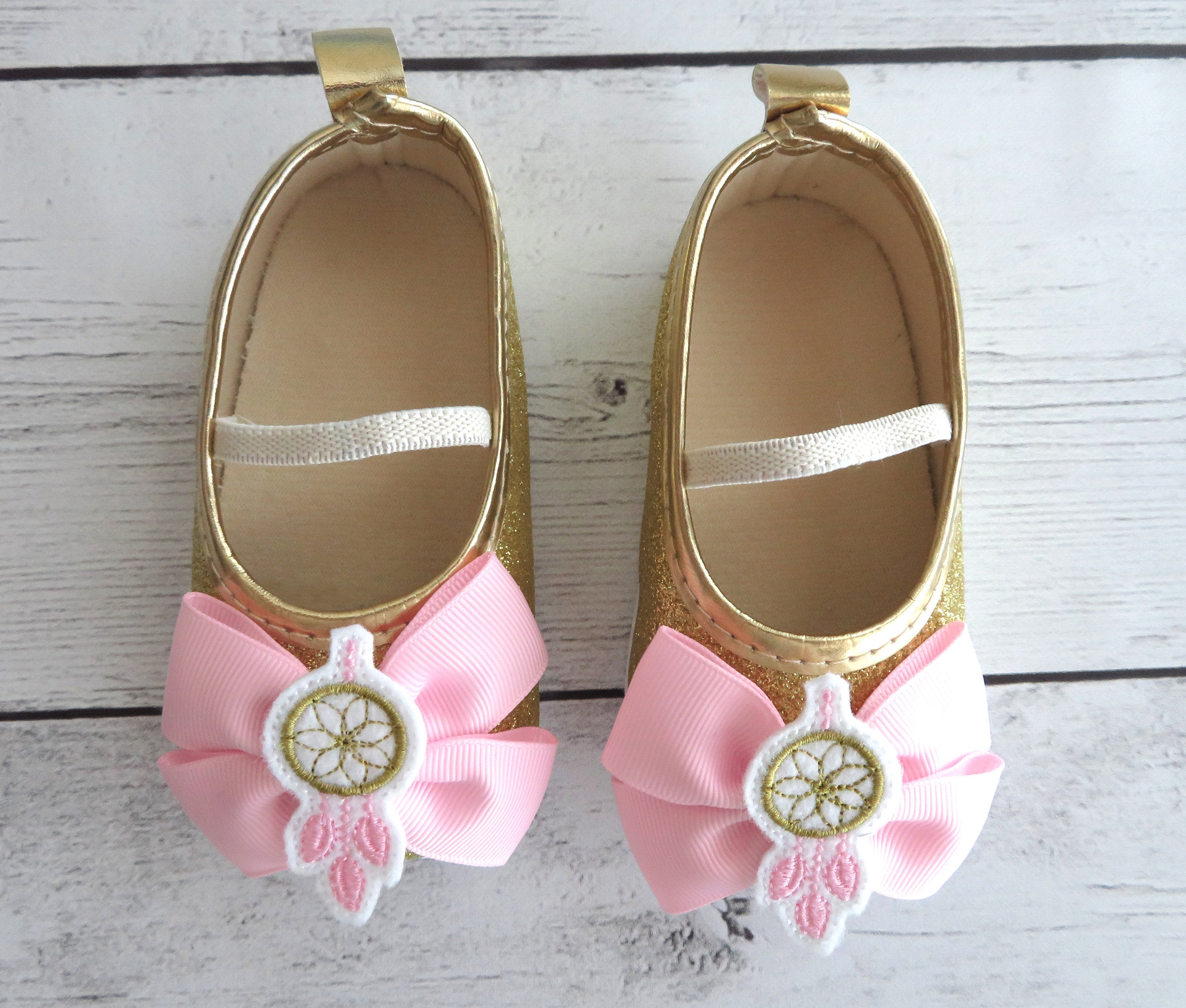 Wild One First Birthday Shoes in light pink and gold - dreamcatcher, wild one 1st birthday girl, wild one shoes, wild one birthday outfit