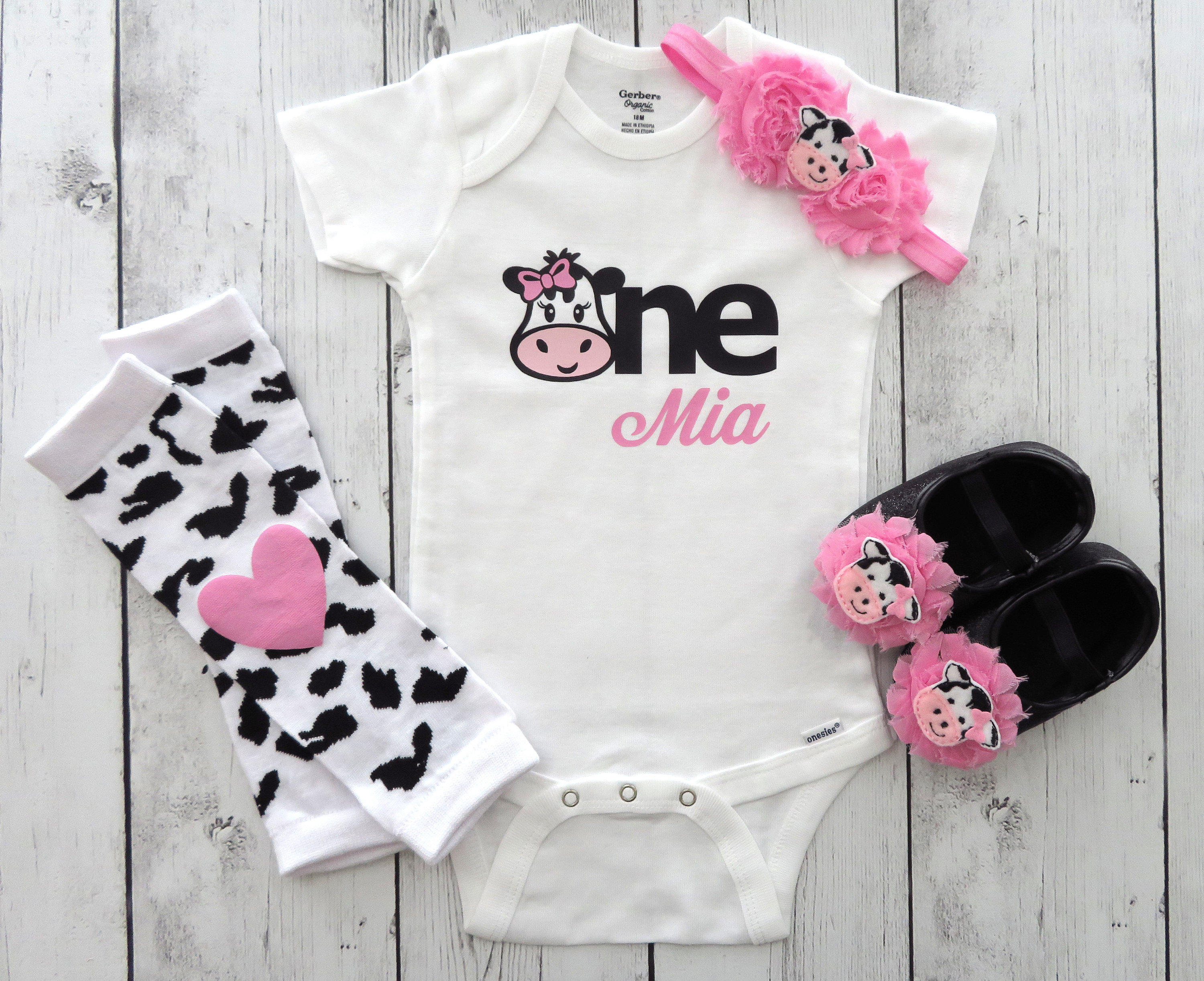 Cow One First Birthday Onesie in medium pink for baby girl - barnyard first birthday shirt, cow girl birthday, cow headband pink, cow one