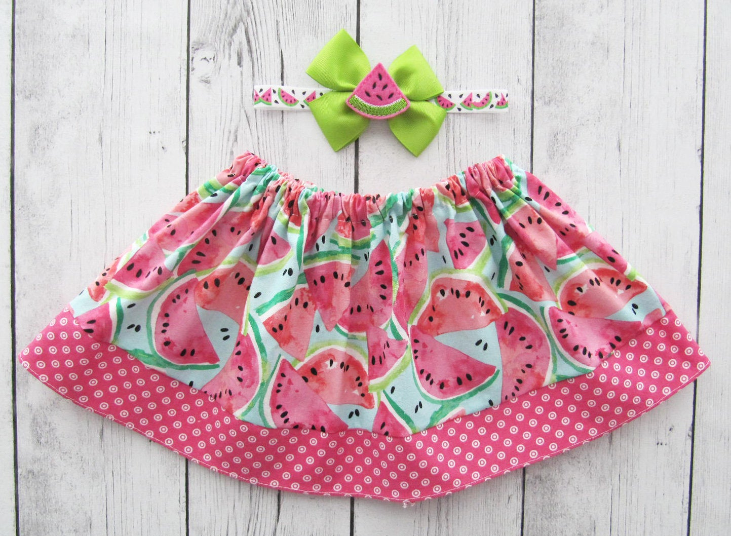 Watermelon Skirt for baby girl - one in a melon skirt, baby girl skirt, watermelon baby girl, watermelon skirt girl, summer skirts