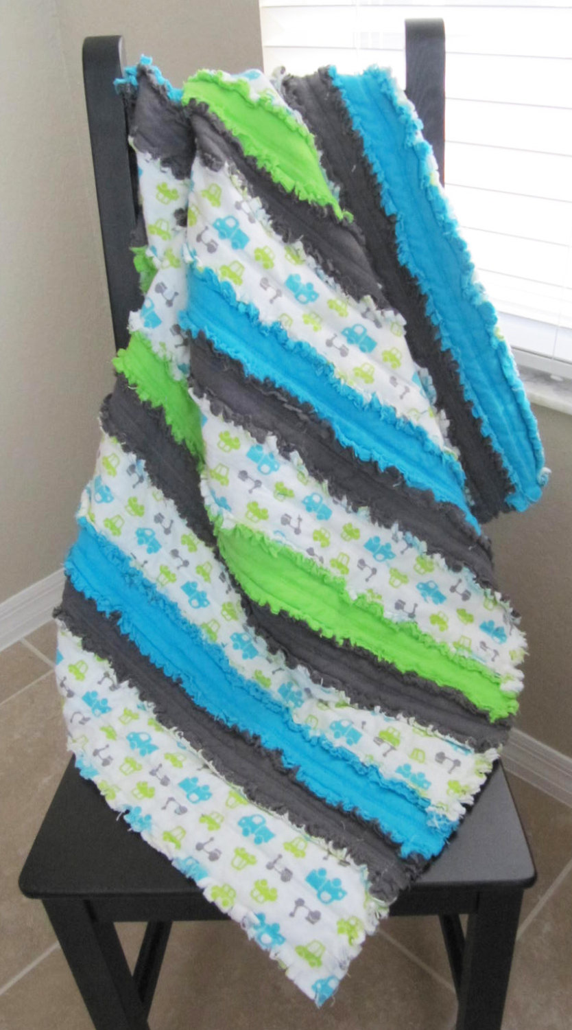 Baby Boy Jelly Roll Rag Quilt in blue, green and grey - trucks, cars, blue and grey, striped blanket