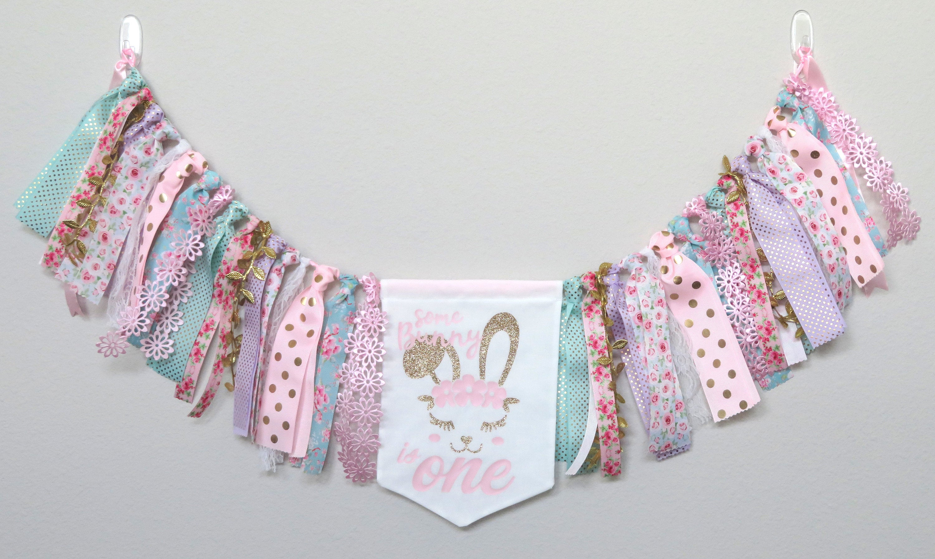 Some Bunny is One Birthday Banner for First Birthday Party - wall banner, bunny party decor, bunny 1st birthday girl, bunny birthday banner