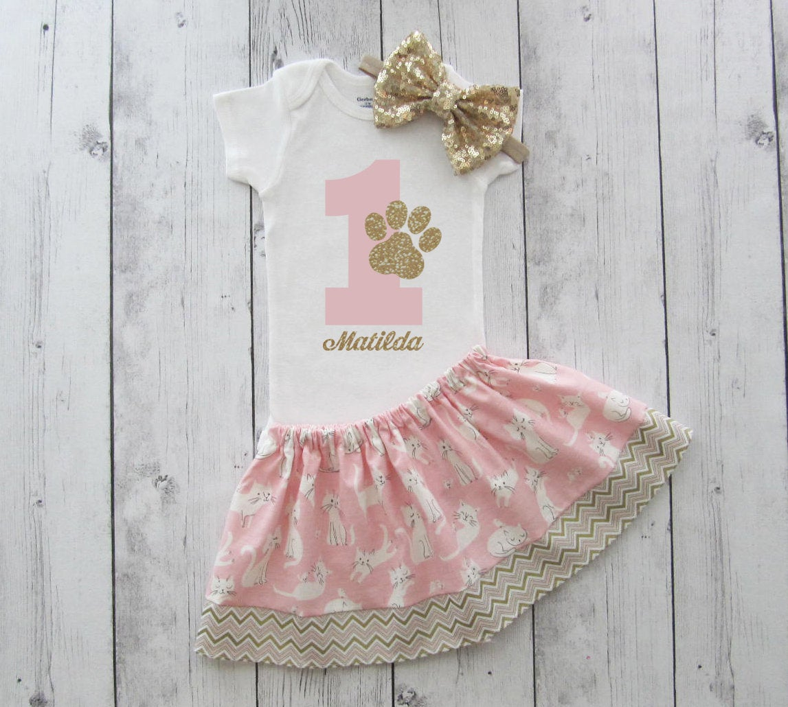 LAST ONE! - Cat First Birthday Outfit for Girl - paw print, pawty outfit, cat 1st birthday outfit, pink and gold, pink cat bday party outfit