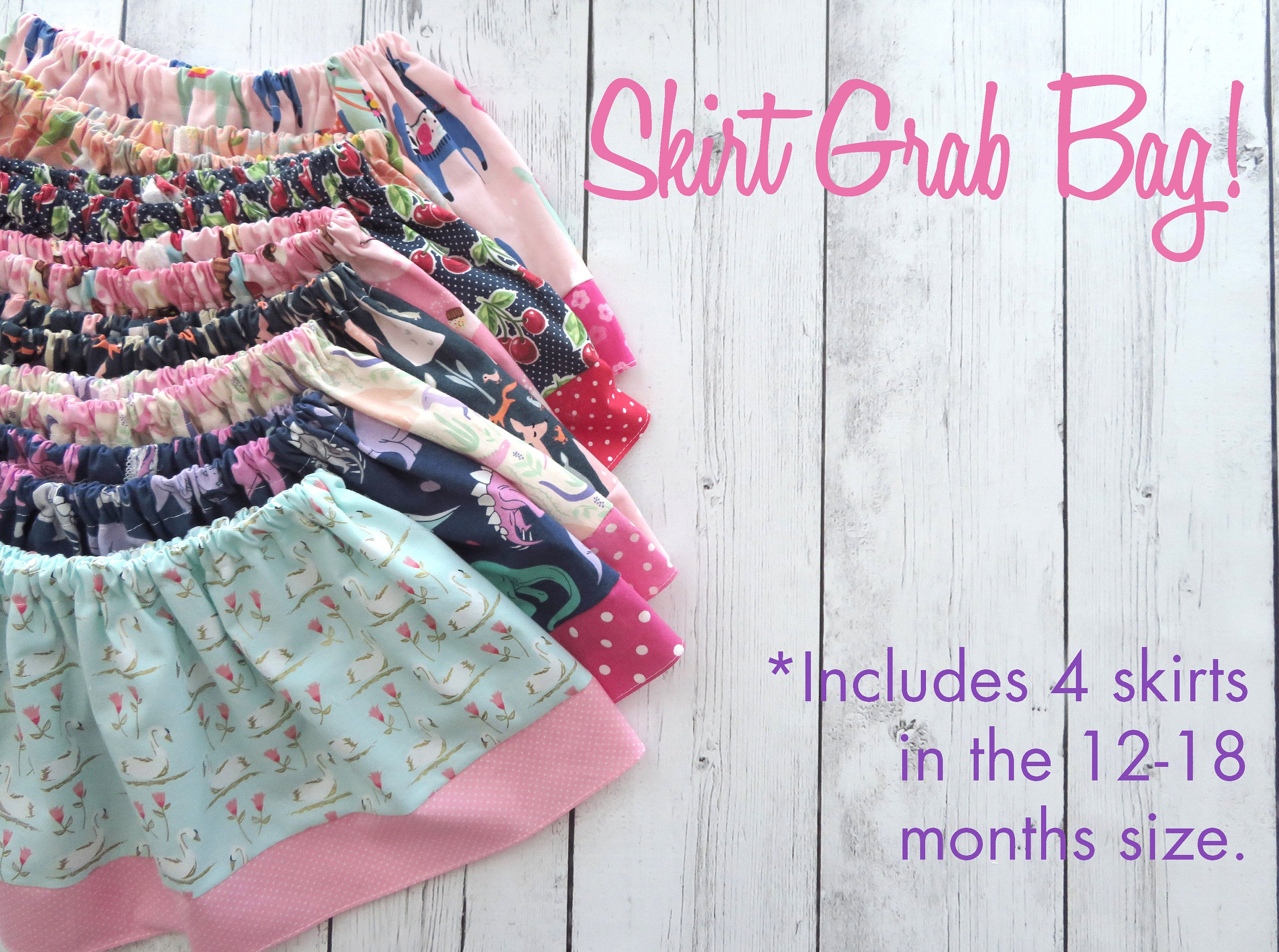 Skirt Grab Bag for Baby Girl - clearance skirts, baby girl skirts, 12-8 month skirt, baby shower gift, add-on item, sale skirts,