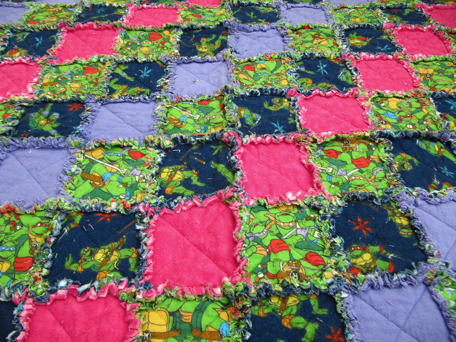 SALE - Ninja Turtles Quilt/Blanket for Girl - TMNT, toddler blanket, pink and purple