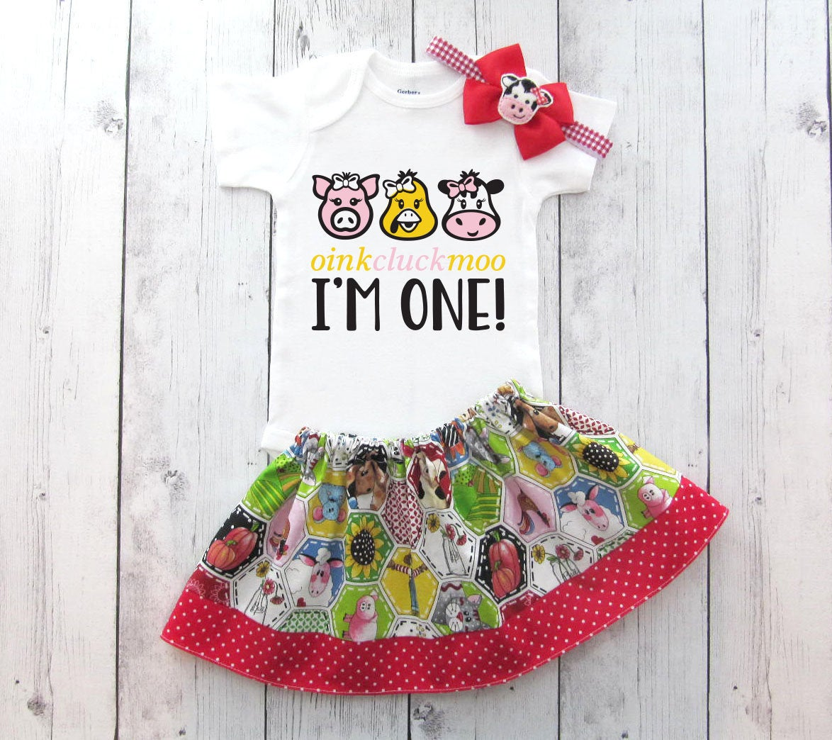 Barnyard First Birthday Outfit for Baby Girl - farm animal birthday girl, oink cluck moo I'm one, old macdonald had a farm, cow birthday