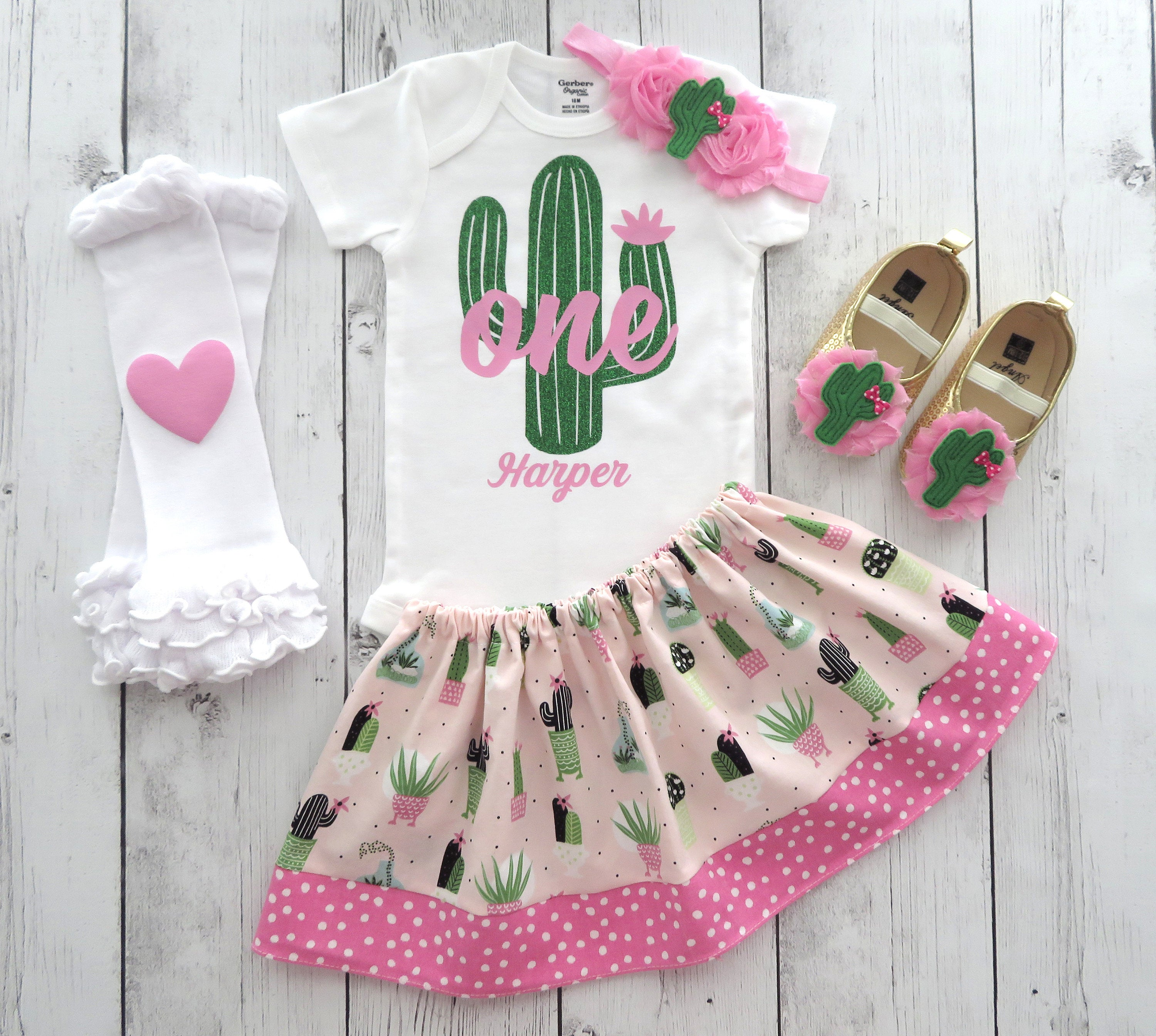 Cactus First Birthday Outfit for Girl - 1st birthday outfit, cactus birthday, first birthday girl, fiesta birthday, cactus outfit pink