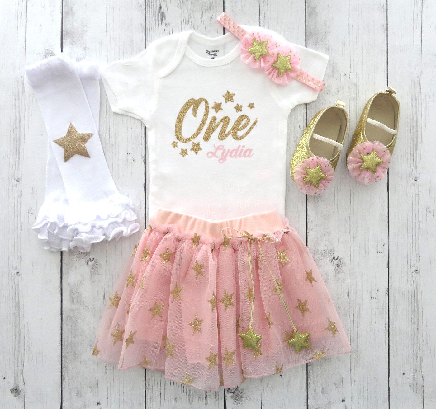 Twinkle Twinkle Little Star First Birthday Outfit with Pink and Gold tutu and Star Shoes - 1st bday outfit girl, pink gold birthday outfit