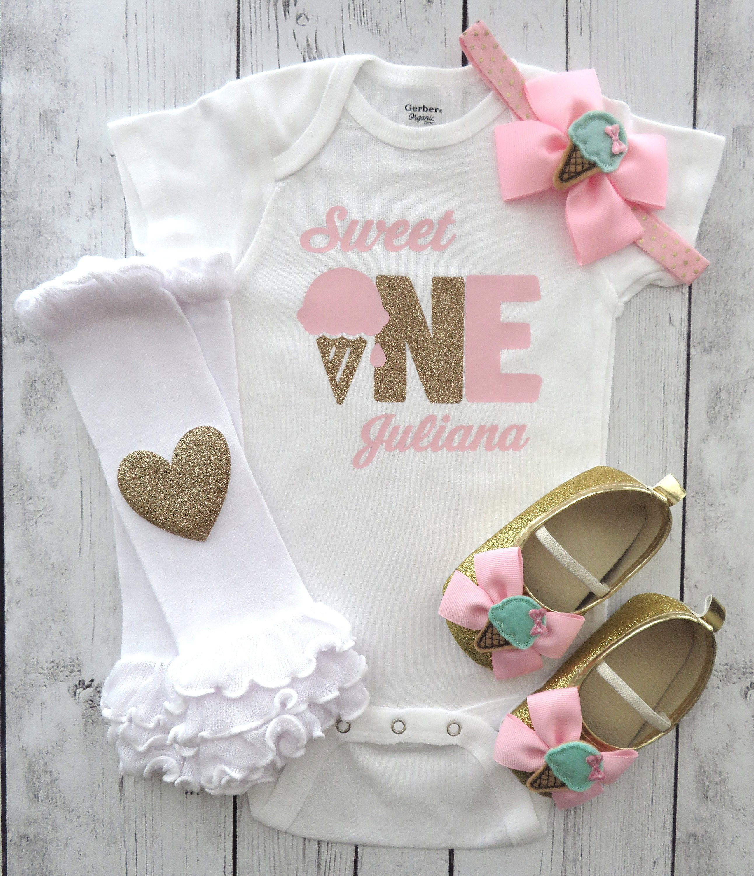 Sweet One First Birthday Onesie - ice cream parlor birthday, ice cream first birthday, pink gold birthday, ice cream birthday girl
