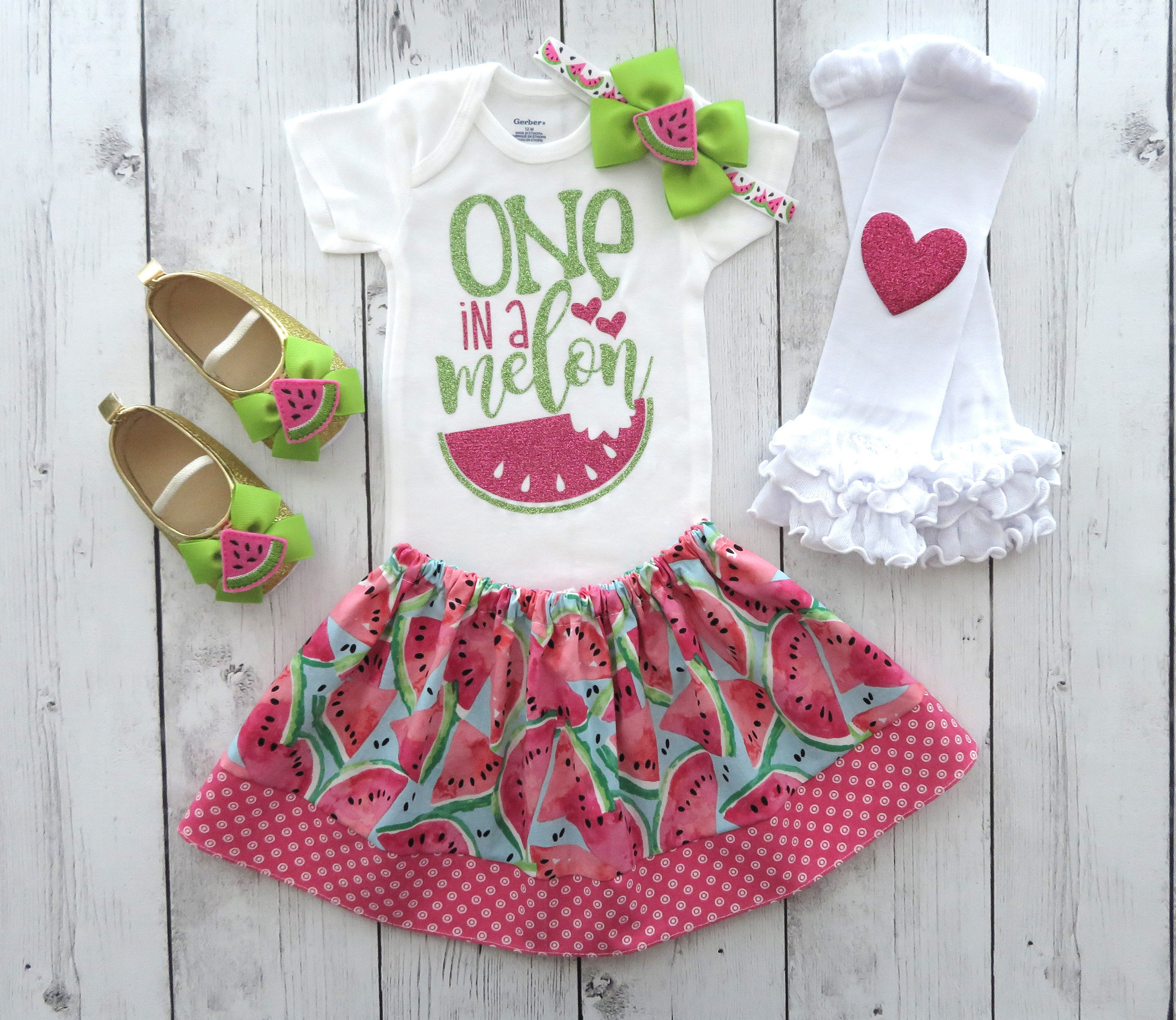 One in a Melon First Birthday Outfit - Watermelon 1st bday, first birthday outfit girl, watermelon outfit, 1st bday outfit, summer bday girl