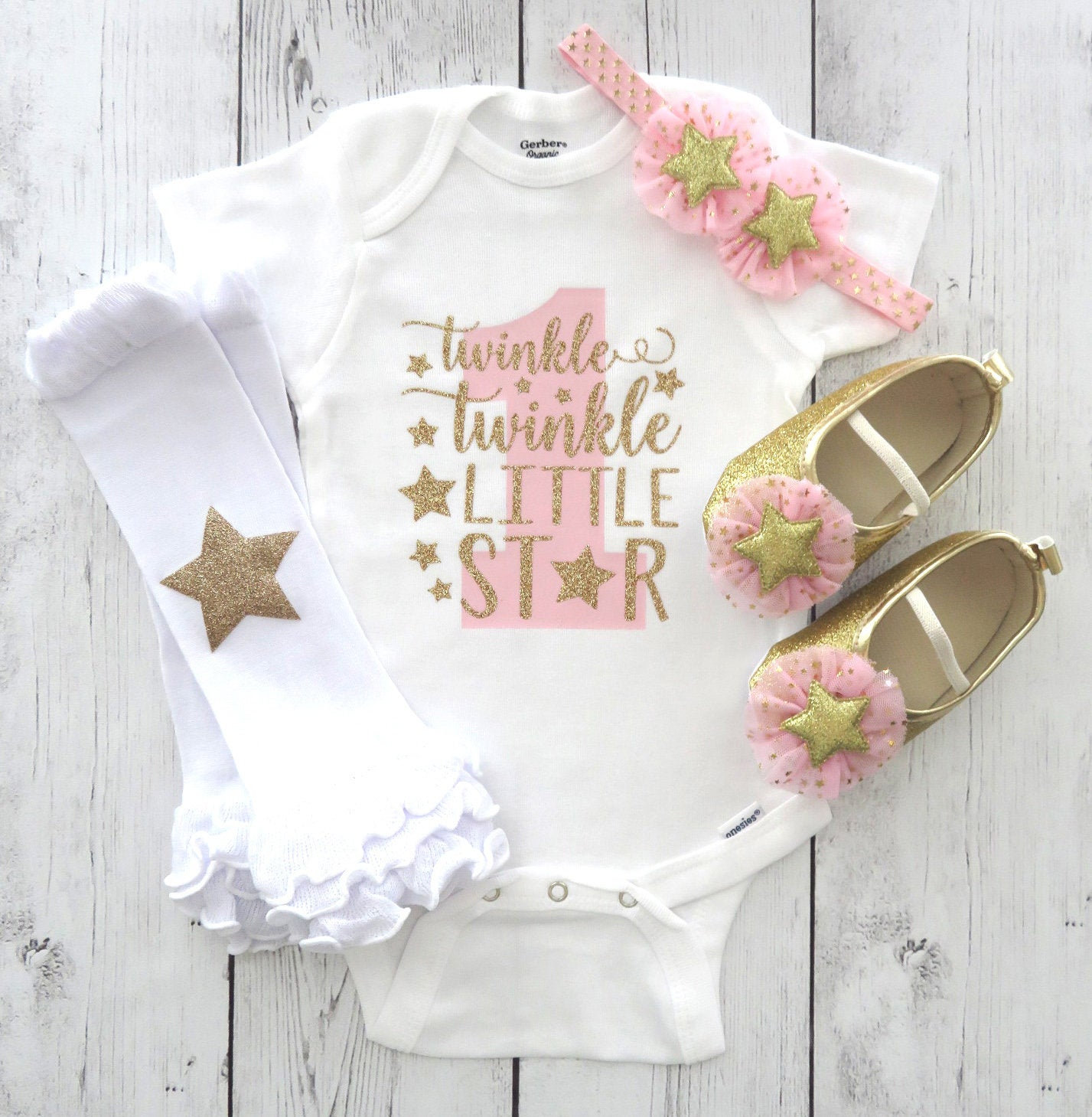 Twinkle Twinkle Little Star First Birthday Onesie in pink and gold - girl birthday, twinkle shirt, star one birthday, star shoes pink gold