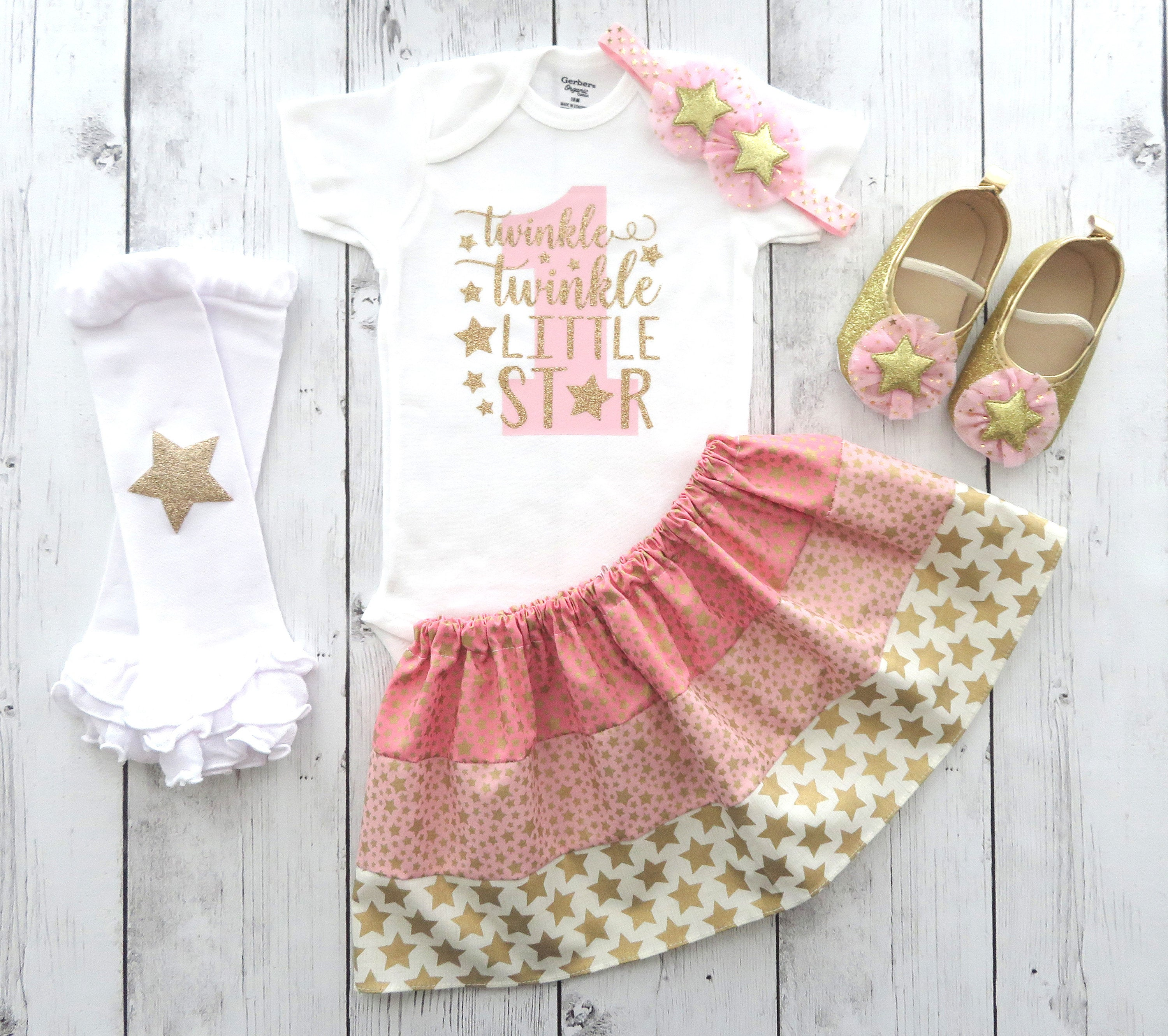 LAST ONE! - Twinkle Twinkle Little Star First Birthday Outfit in pink and gold - star shoes, twinkle bday outfit, star 1st bday girl