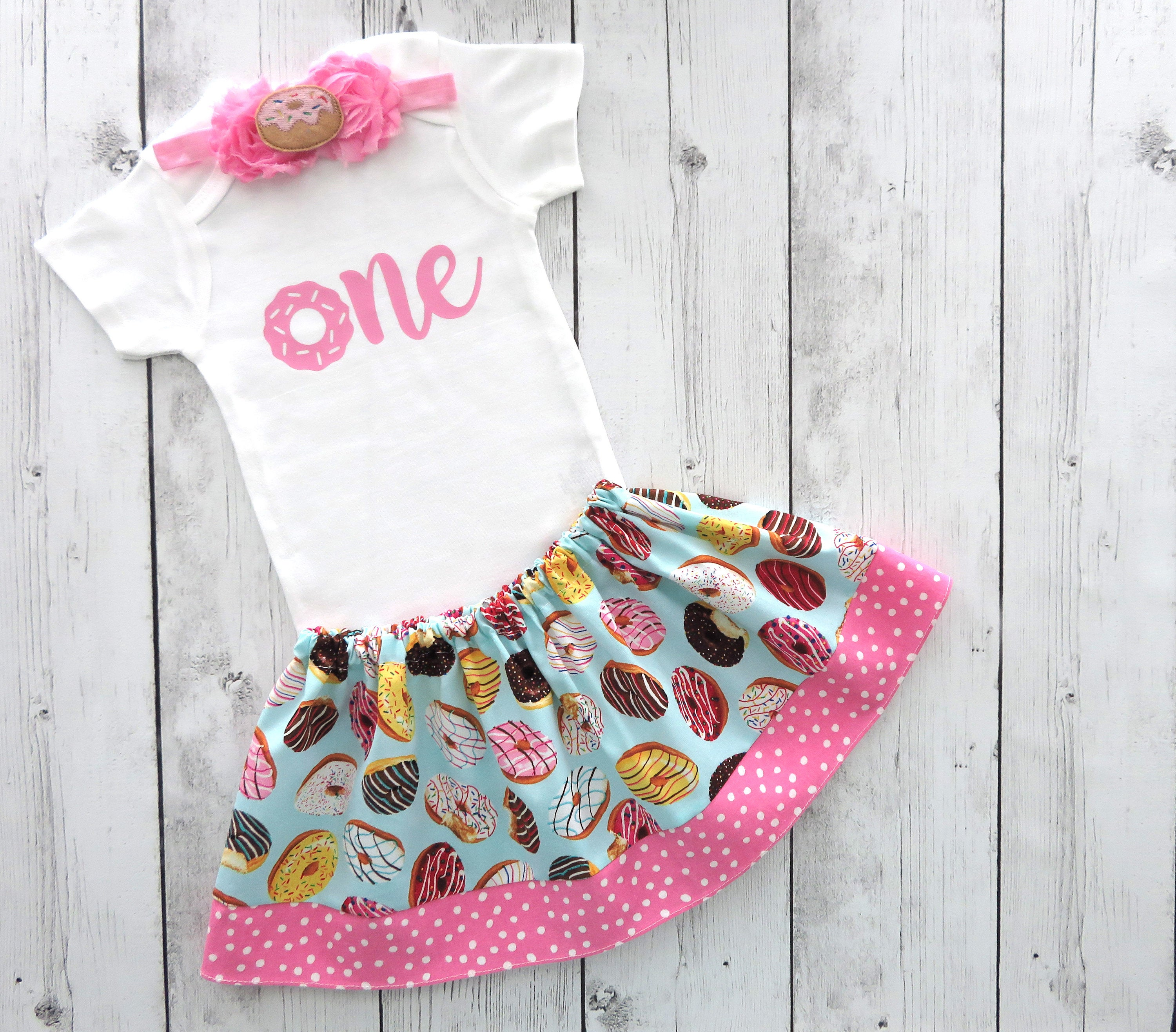 Donut First Birthday Outfit in pink with donut headband - donut 1st birthday,1st bday outfit, donut bday outfit girl, donut grow up